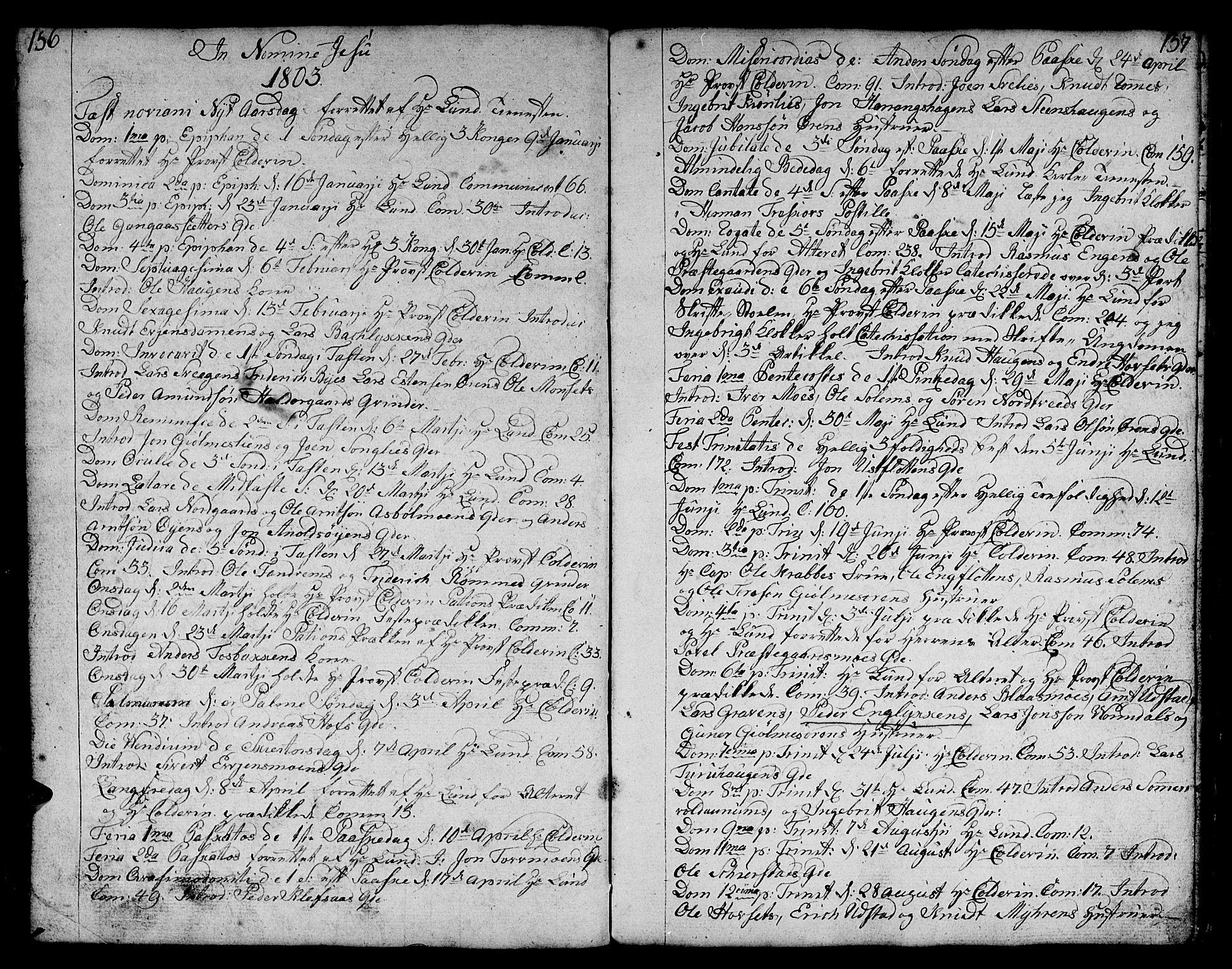 SAT, Ministerialprotokoller, klokkerbøker og fødselsregistre - Sør-Trøndelag, 668/L0815: Klokkerbok nr. 668C04, 1791-1815, s. 156-157