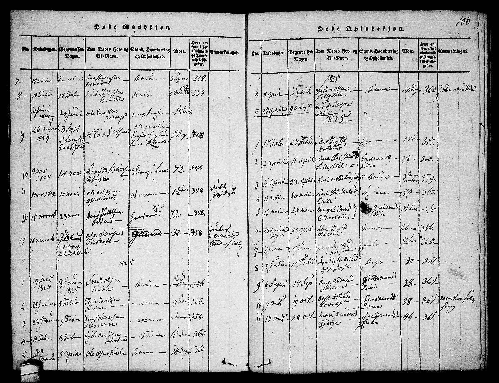 SAKO, Seljord kirkebøker, F/Fa/L0010: Ministerialbok nr. I 10, 1815-1831, s. 106