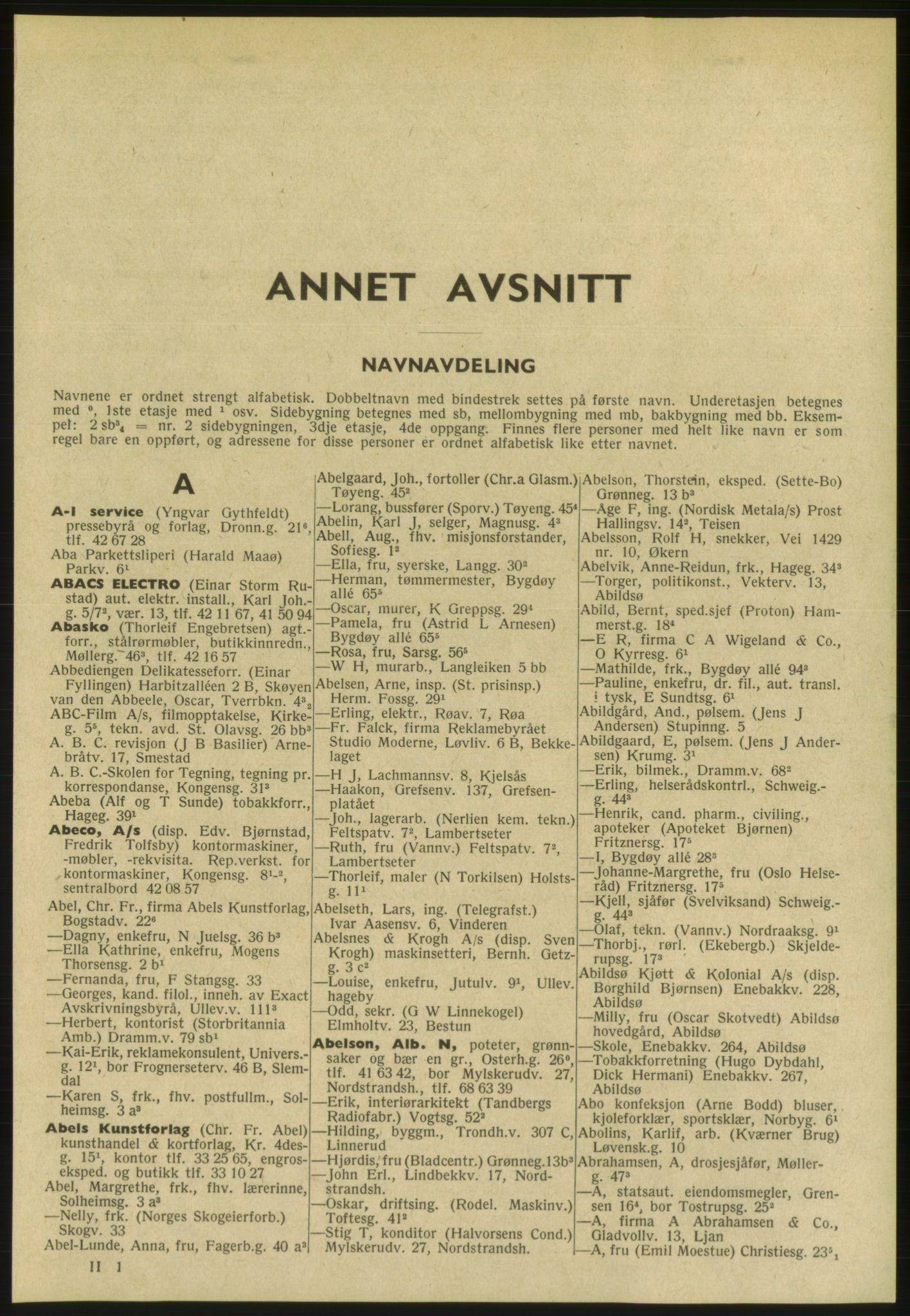 PUBL, Kristiania/Oslo adressebok, 1954, s. 41
