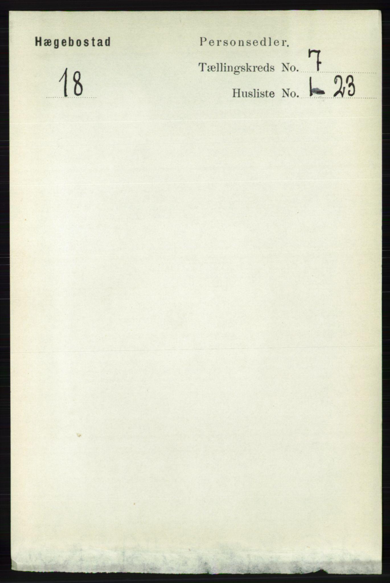 RA, Folketelling 1891 for 1034 Hægebostad herred, 1891, s. 2100