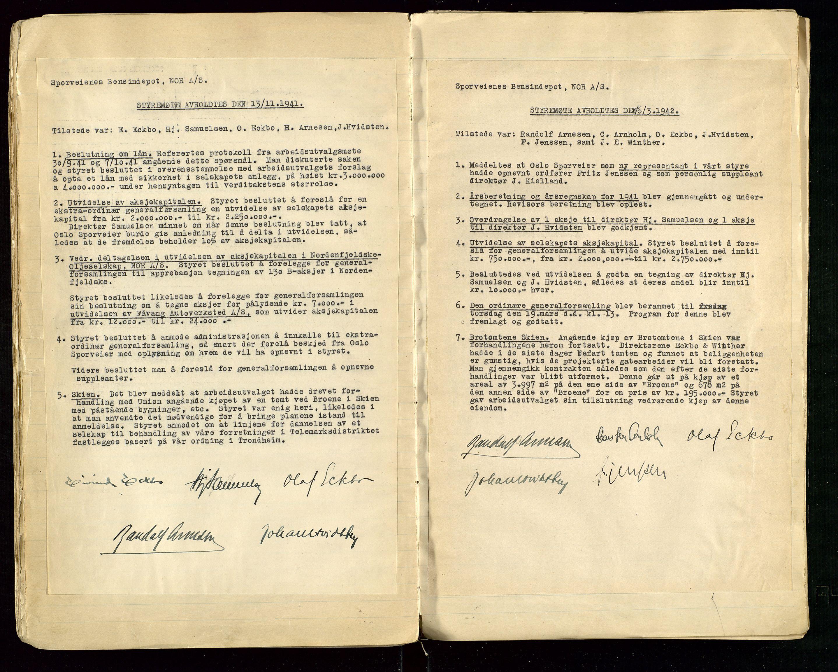 SAST, PA 1514 - Sporveienes Bensindepot, Norsk Oljeraffineri A/S, A/L0001: Styreprotokoll. Forhandlingsprotokoll Arbeidsutvaget, 1932-1949, s. 66