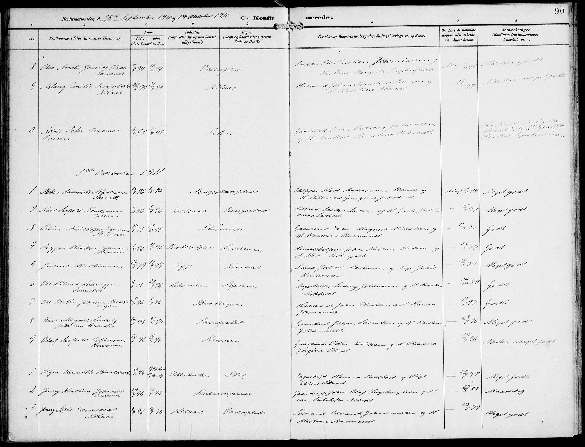 SAT, Ministerialprotokoller, klokkerbøker og fødselsregistre - Nord-Trøndelag, 745/L0430: Ministerialbok nr. 745A02, 1895-1913, s. 90