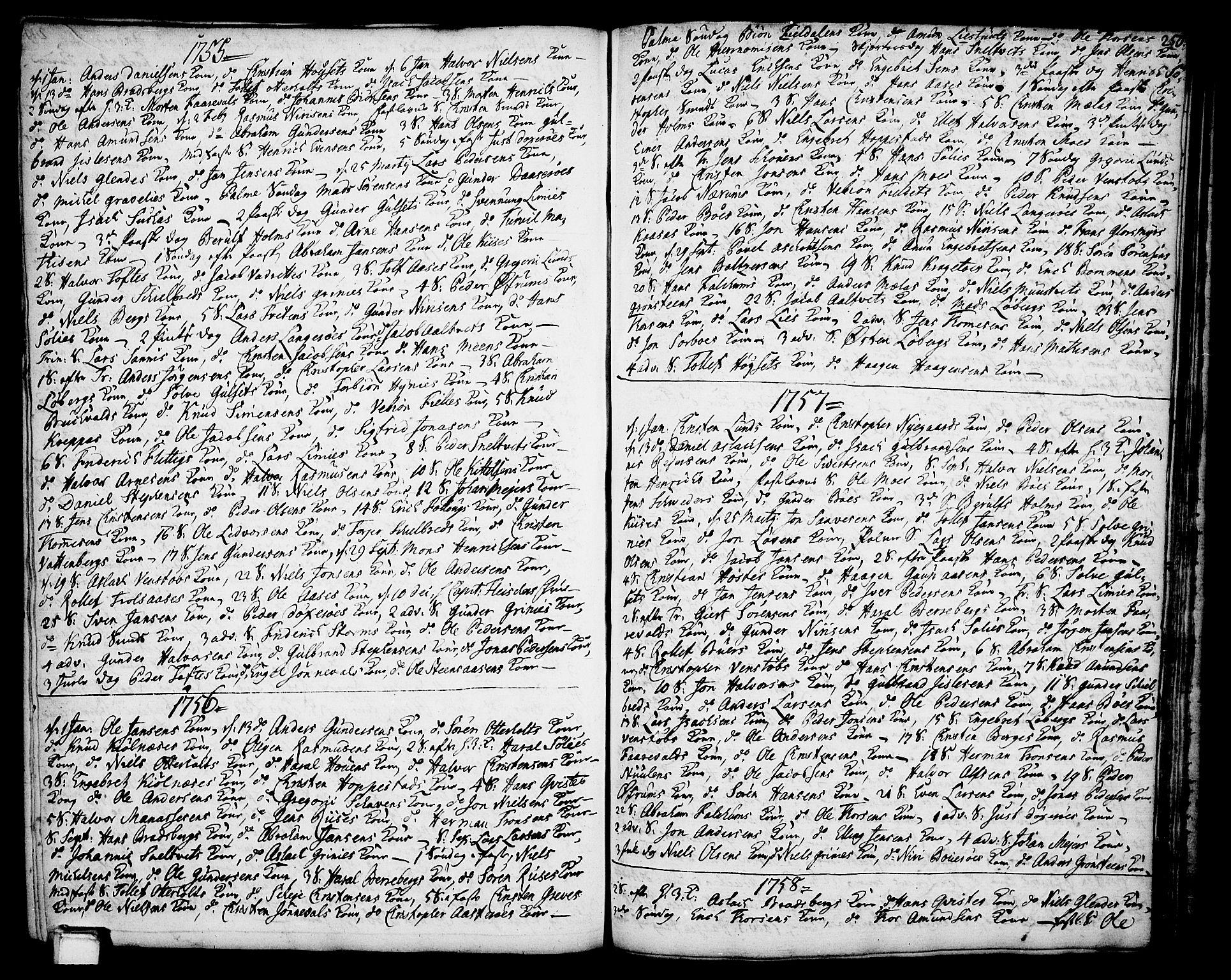 SAKO, Gjerpen kirkebøker, F/Fa/L0002: Ministerialbok nr. 2, 1747-1795, s. 250