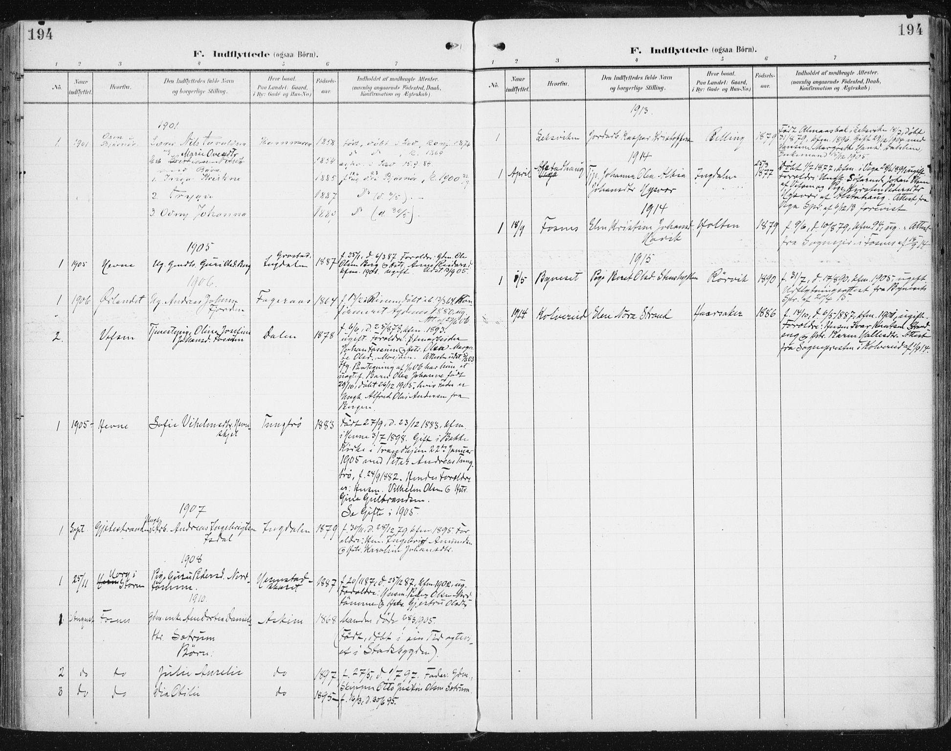 SAT, Ministerialprotokoller, klokkerbøker og fødselsregistre - Sør-Trøndelag, 646/L0616: Ministerialbok nr. 646A14, 1900-1918, s. 194