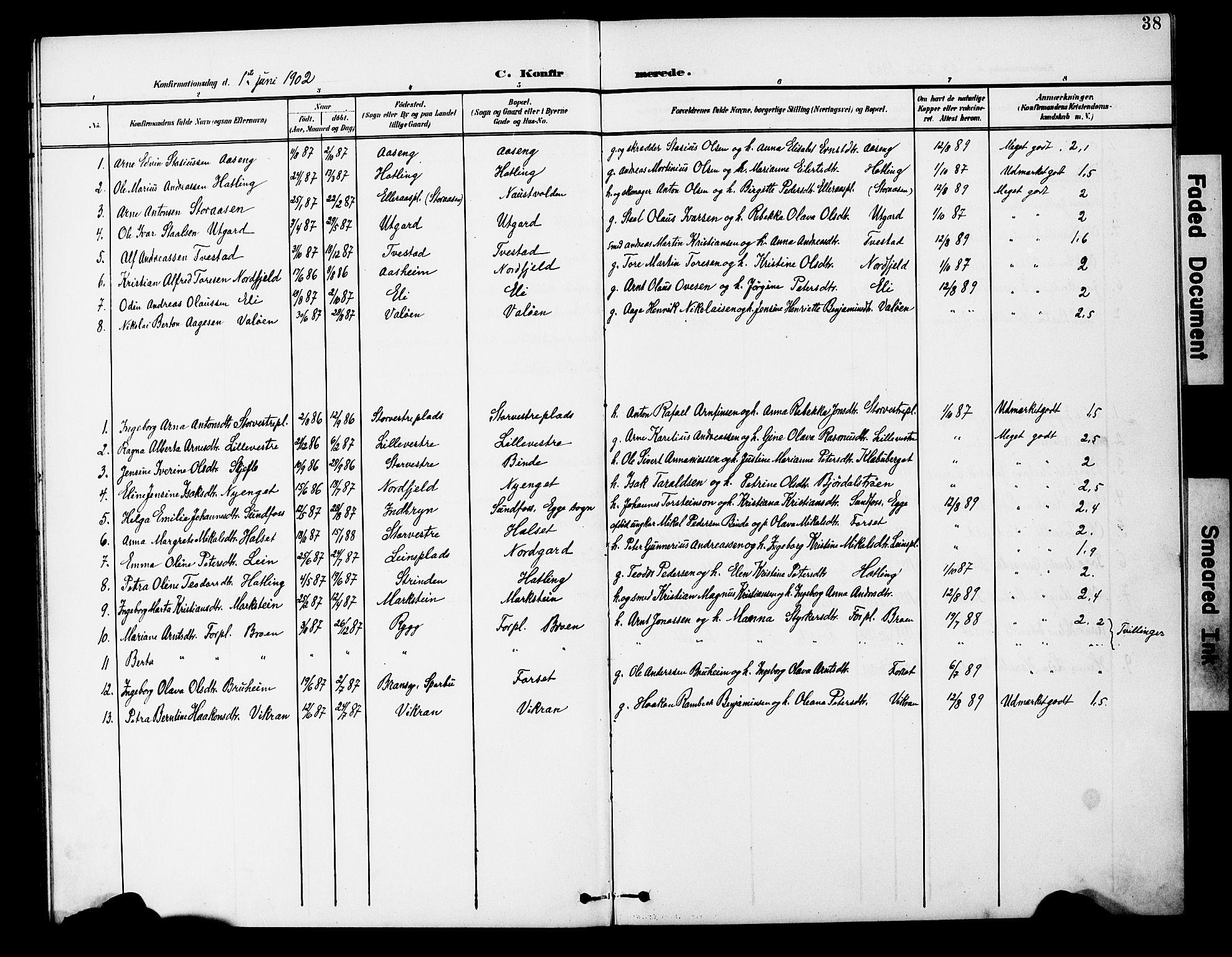 SAT, Ministerialprotokoller, klokkerbøker og fødselsregistre - Nord-Trøndelag, 746/L0452: Ministerialbok nr. 746A09, 1900-1908, s. 38