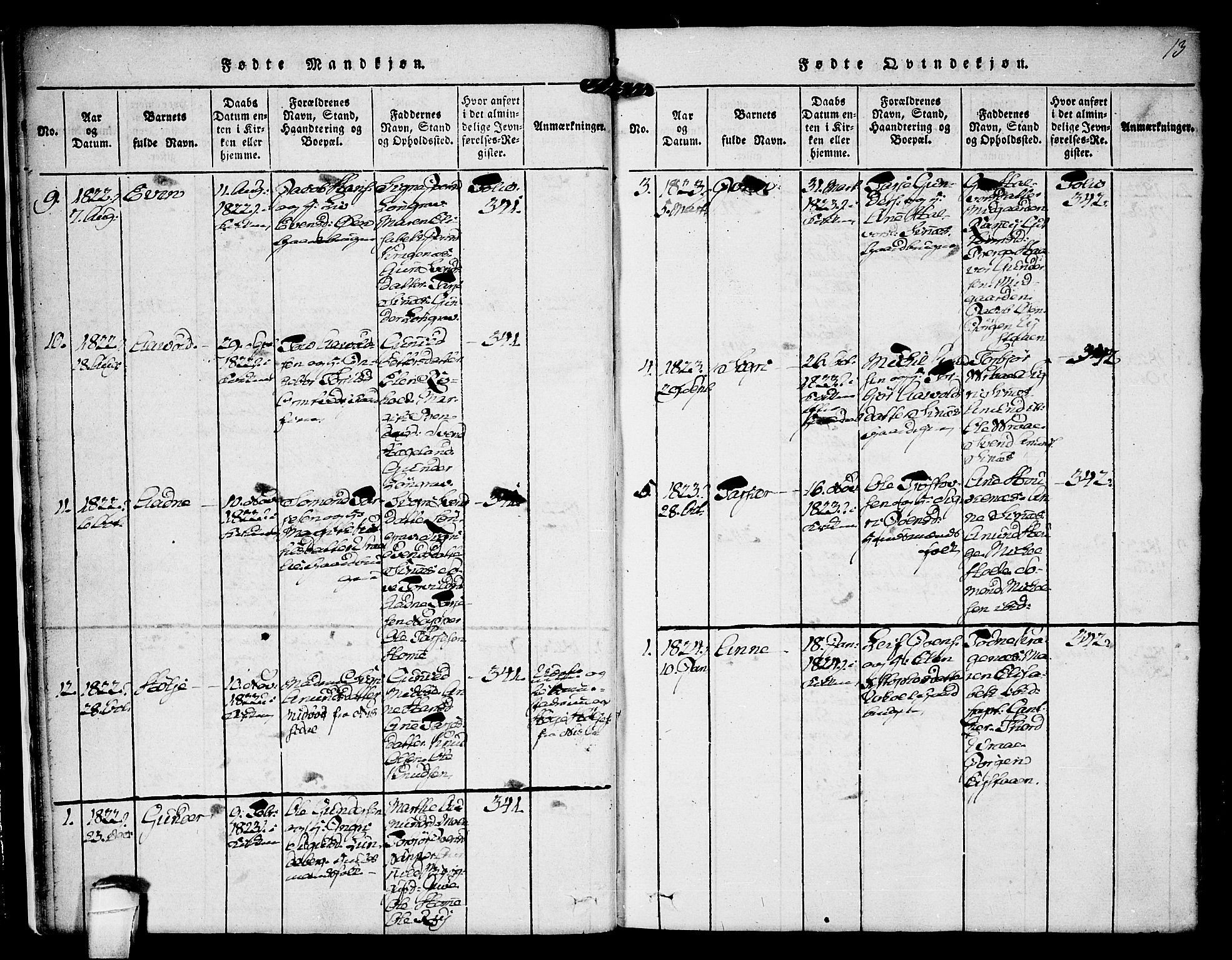 SAKO, Kviteseid kirkebøker, F/Fc/L0001: Ministerialbok nr. III 1, 1815-1836, s. 13