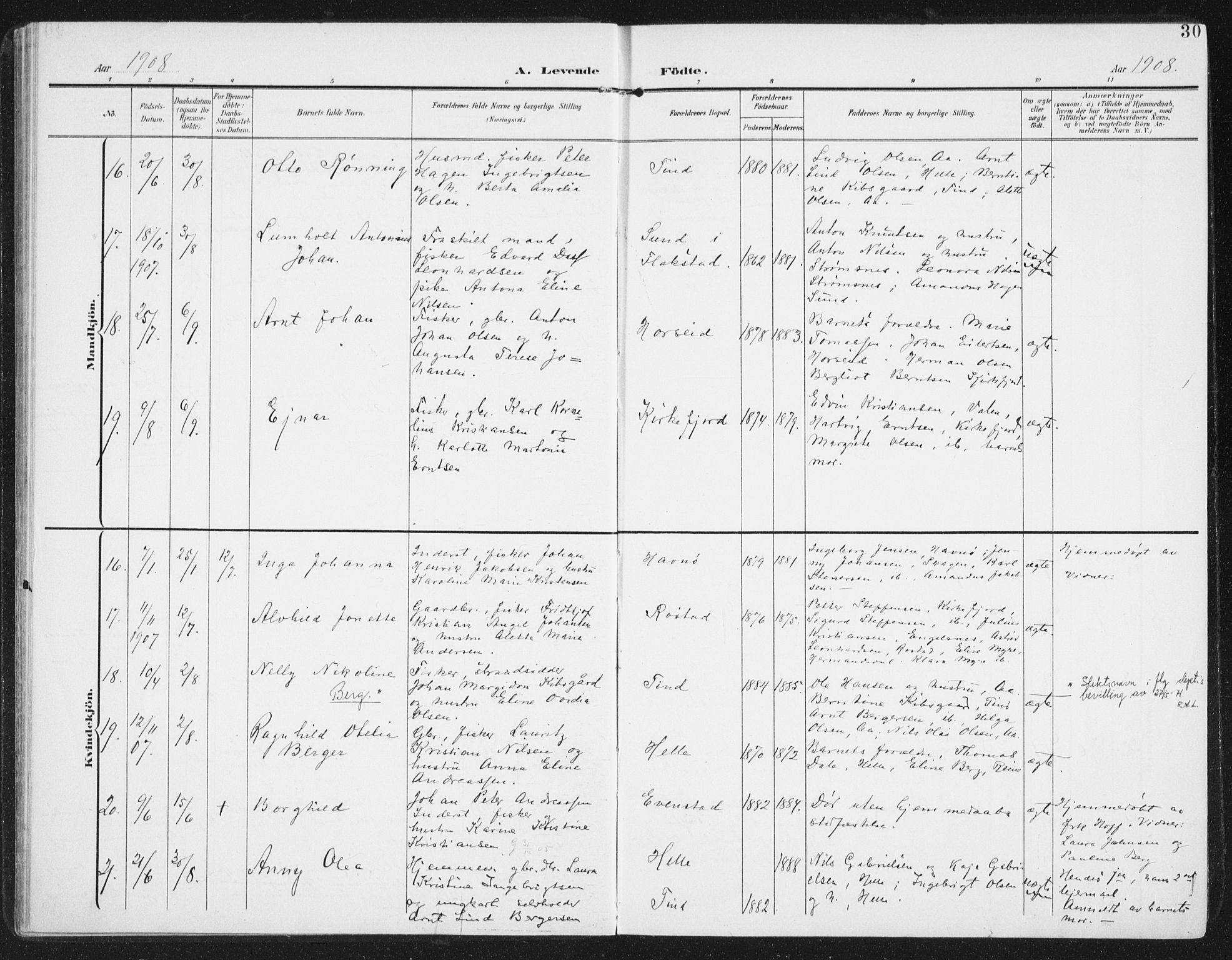 SAT, Ministerialprotokoller, klokkerbøker og fødselsregistre - Nordland, 886/L1221: Ministerialbok nr. 886A03, 1903-1913, s. 30