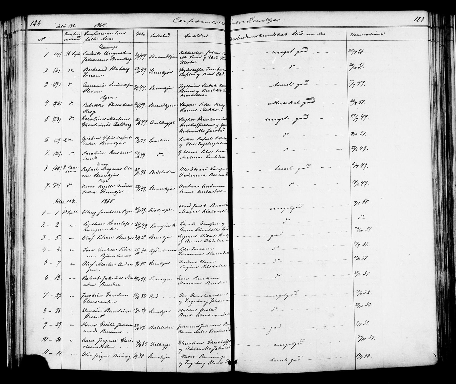 SAT, Ministerialprotokoller, klokkerbøker og fødselsregistre - Nord-Trøndelag, 739/L0367: Ministerialbok nr. 739A01 /1, 1838-1868, s. 126-127