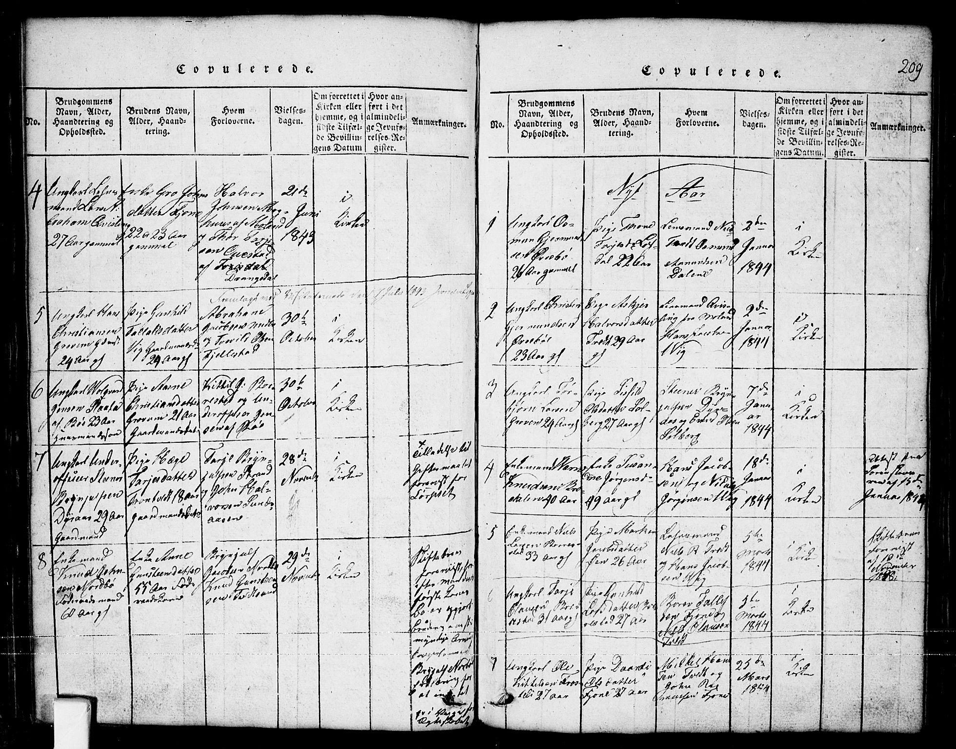 SAKO, Nissedal kirkebøker, G/Ga/L0001: Klokkerbok nr. I 1, 1814-1860, s. 209