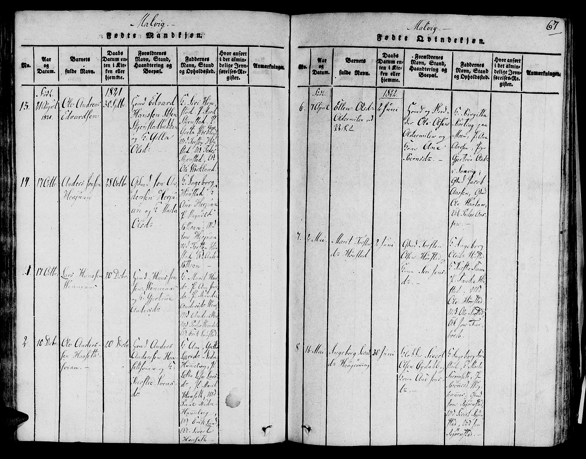 SAT, Ministerialprotokoller, klokkerbøker og fødselsregistre - Sør-Trøndelag, 606/L0284: Ministerialbok nr. 606A03 /2, 1819-1823, s. 67