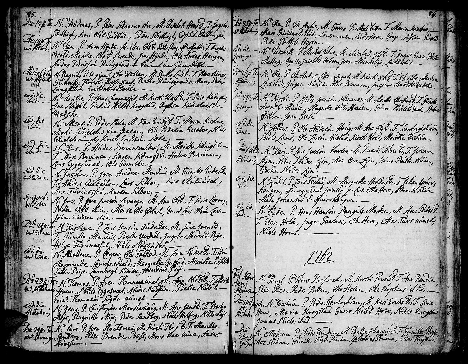 SAT, Ministerialprotokoller, klokkerbøker og fødselsregistre - Nord-Trøndelag, 717/L0141: Ministerialbok nr. 717A01, 1747-1803, s. 85-86