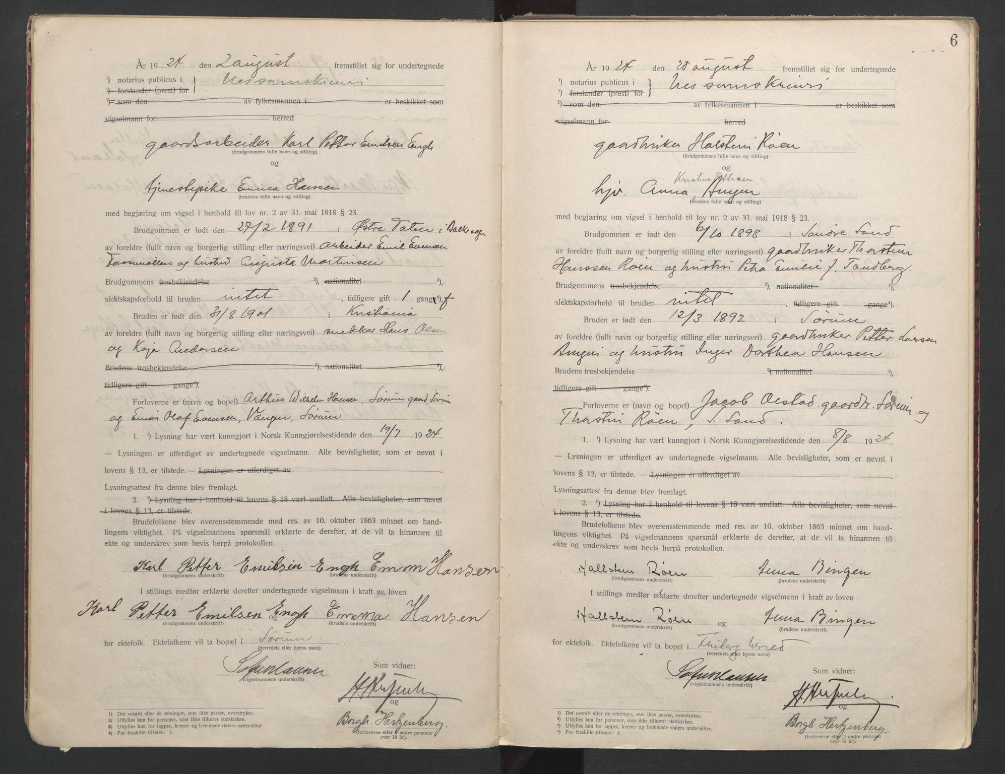 SAO, Nes tingrett, L/Lc/Lca/L0001: Vigselbok, 1920-1943, s. 6
