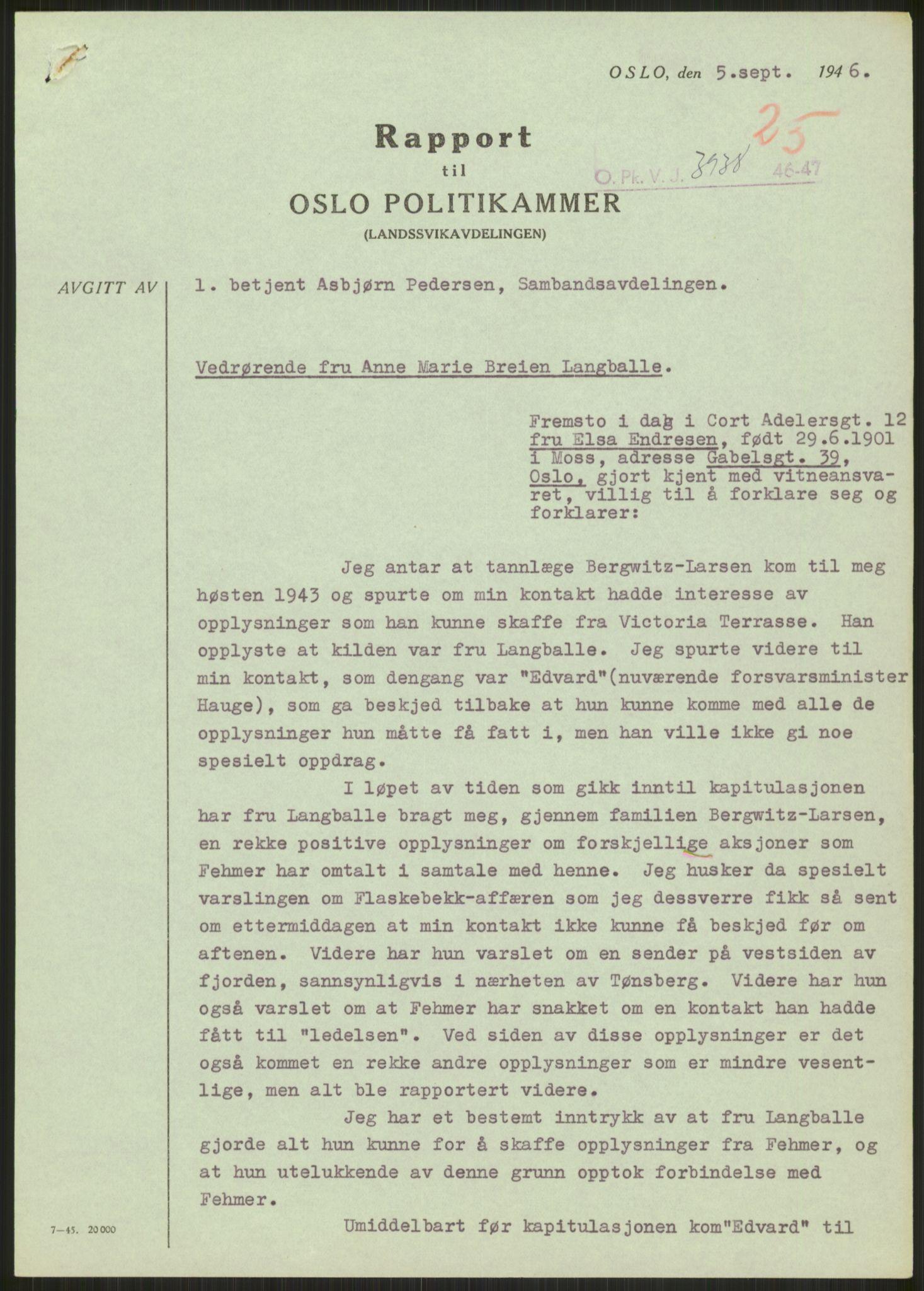 RA, Landssvikarkivet, Oslo politikammer, D/Dg/L0267: Henlagt hnr. 3658, 1945-1946, s. 286