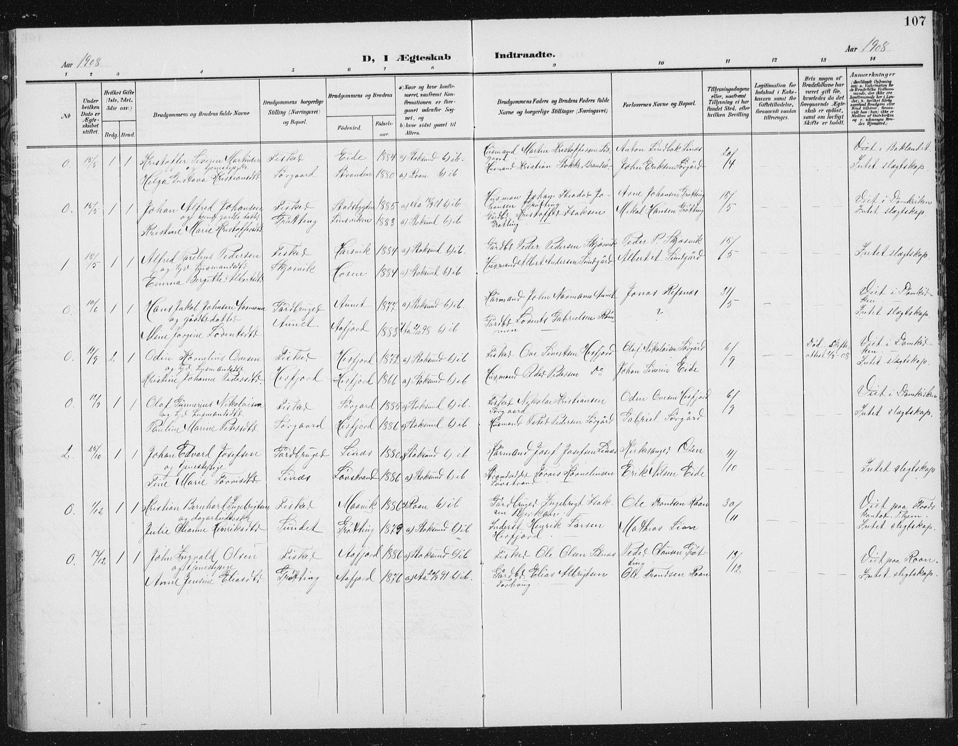 SAT, Ministerialprotokoller, klokkerbøker og fødselsregistre - Sør-Trøndelag, 656/L0699: Klokkerbok nr. 656C05, 1905-1920, s. 107