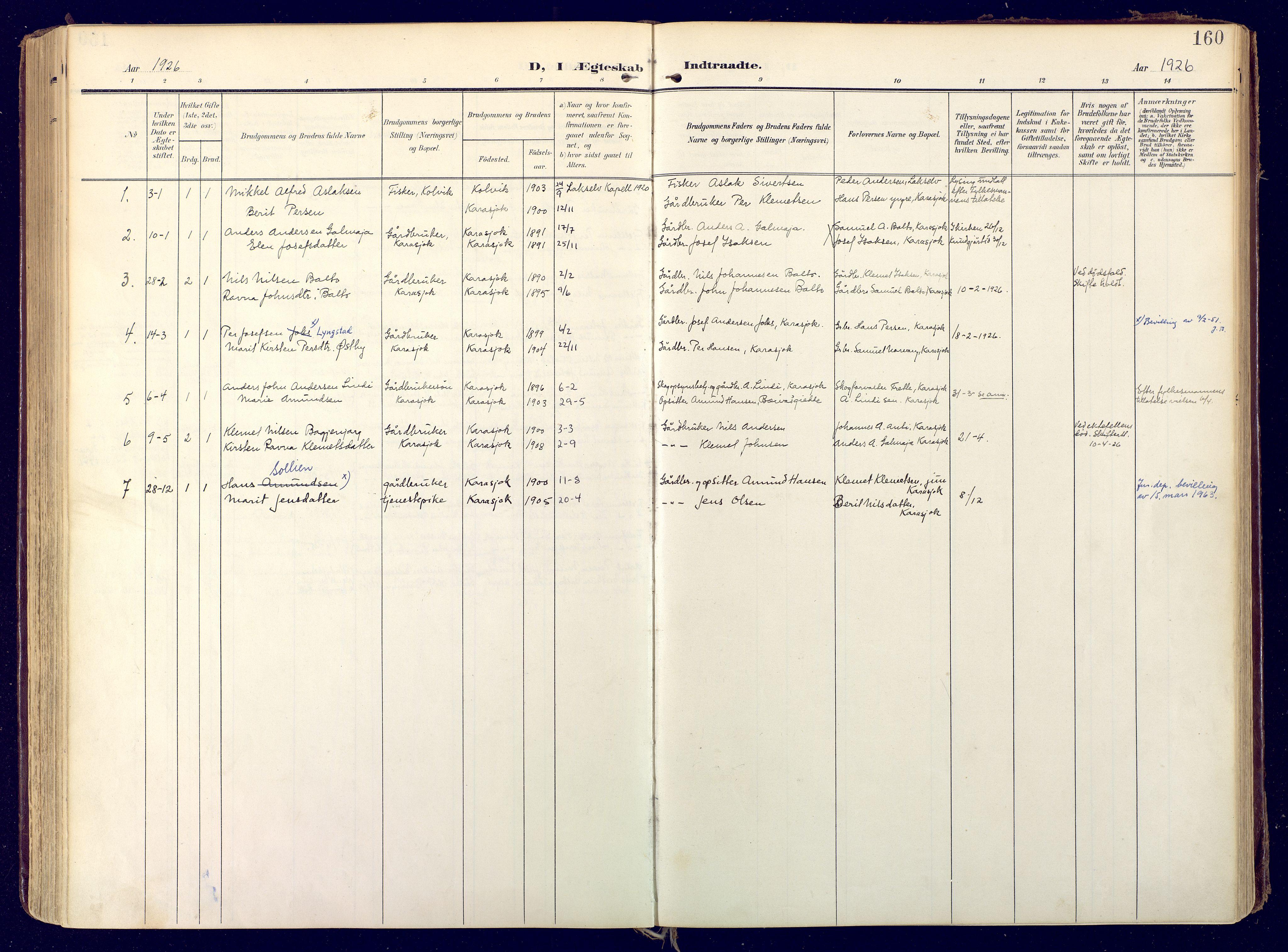 SATØ, Karasjok sokneprestkontor, H/Ha: Ministerialbok nr. 3, 1907-1926, s. 160