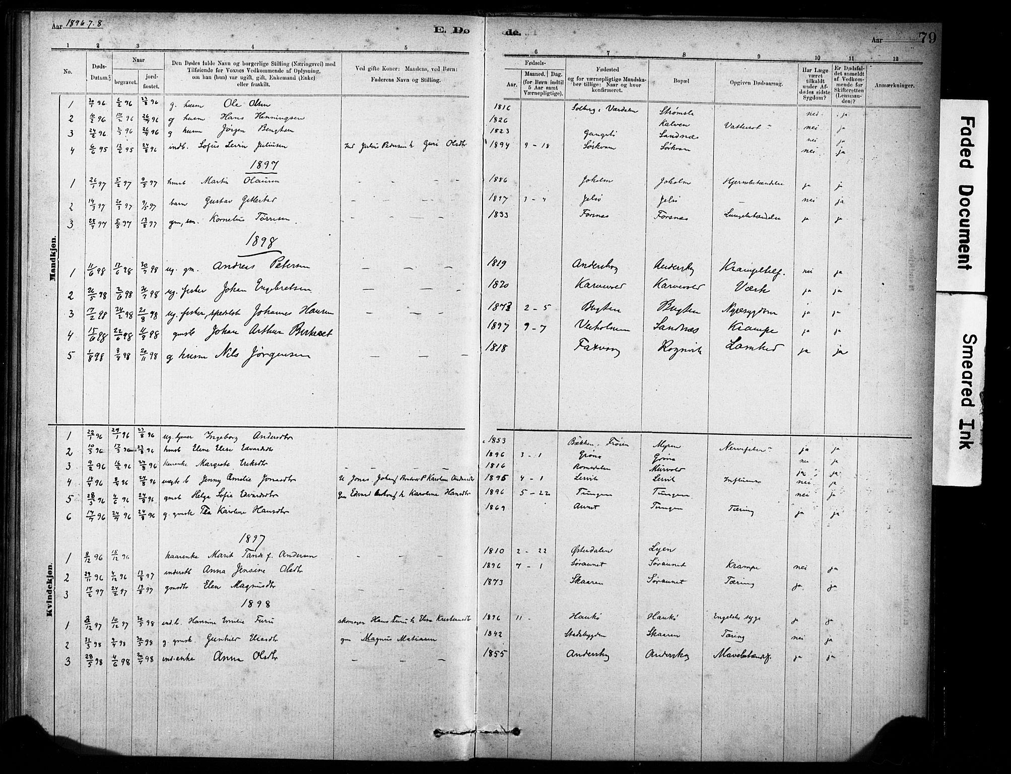 SAT, Ministerialprotokoller, klokkerbøker og fødselsregistre - Sør-Trøndelag, 635/L0551: Ministerialbok nr. 635A01, 1882-1899, s. 79