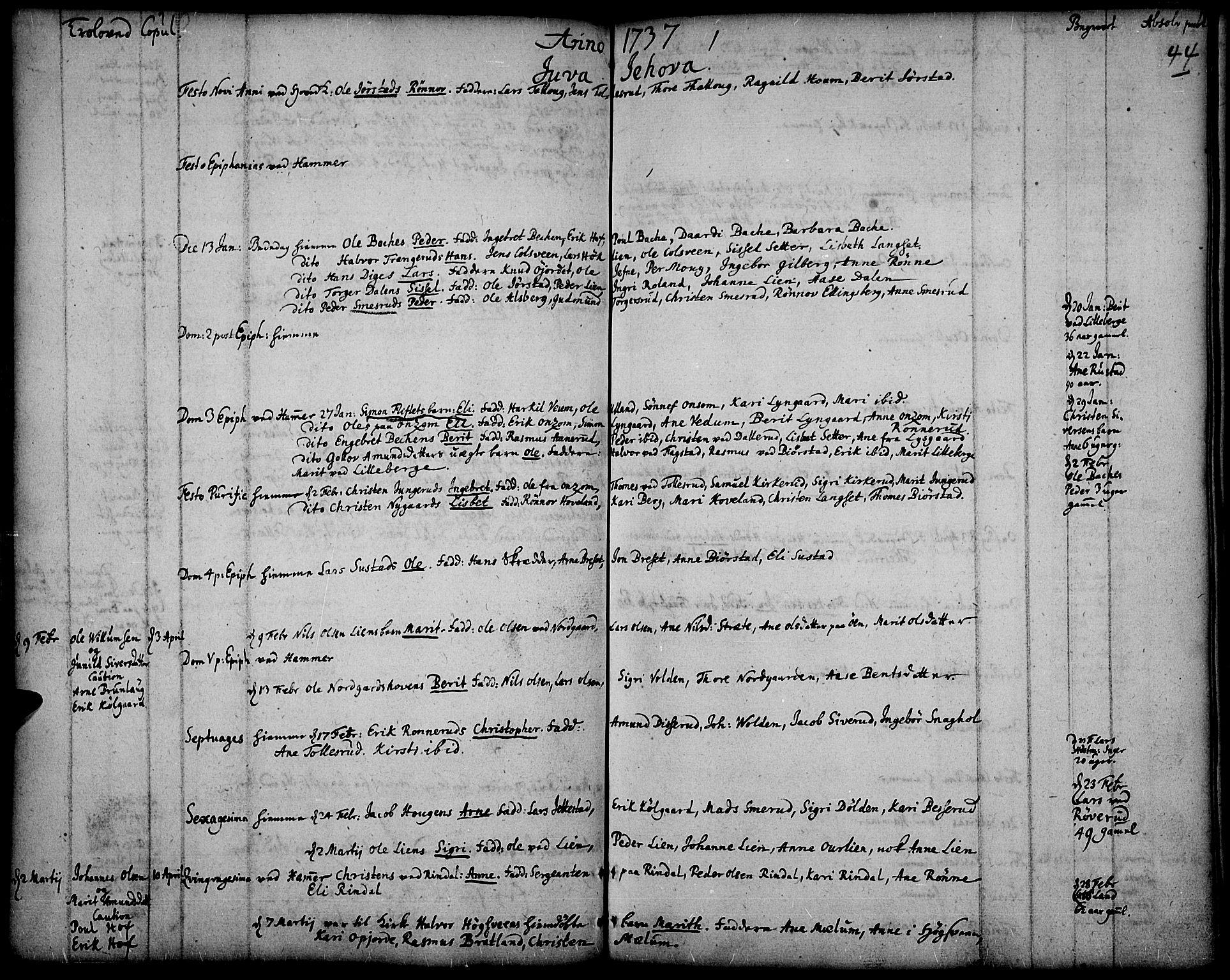 SAH, Fåberg prestekontor, Ministerialbok nr. 1, 1727-1775, s. 44