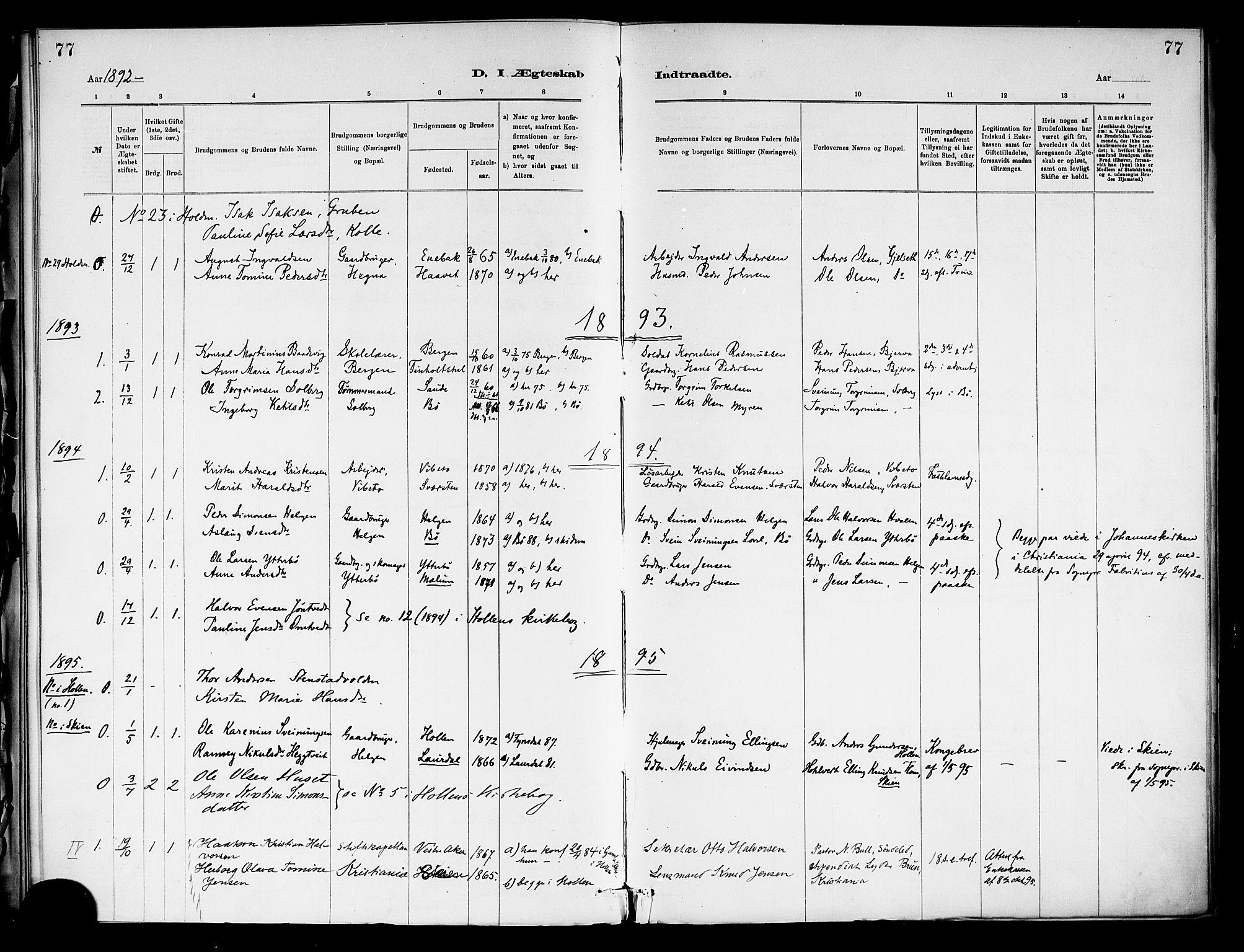 SAKO, Holla kirkebøker, F/Fa/L0009: Ministerialbok nr. 9, 1881-1897, s. 77
