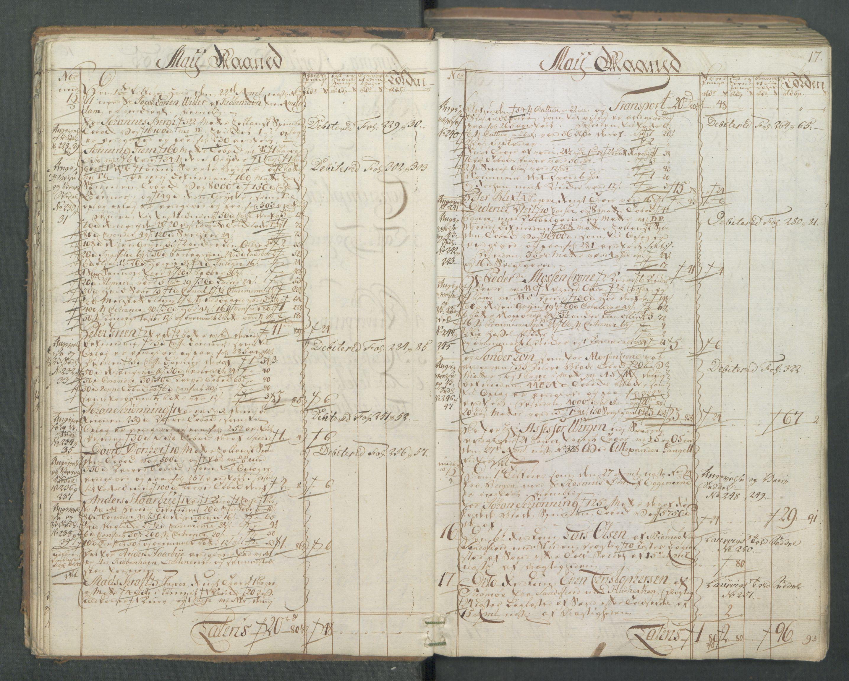 RA, Generaltollkammeret, tollregnskaper, R01/L0046: Tollregnskaper Fredrikshald, 1762, s. 16b-17a