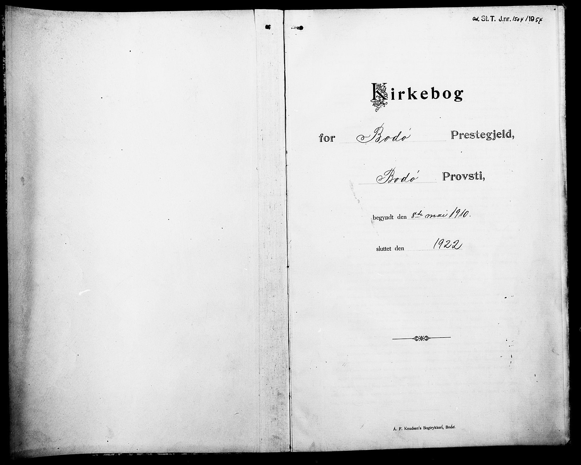 SAT, Ministerialprotokoller, klokkerbøker og fødselsregistre - Nordland, 801/L0034: Klokkerbok nr. 801C09, 1910-1922