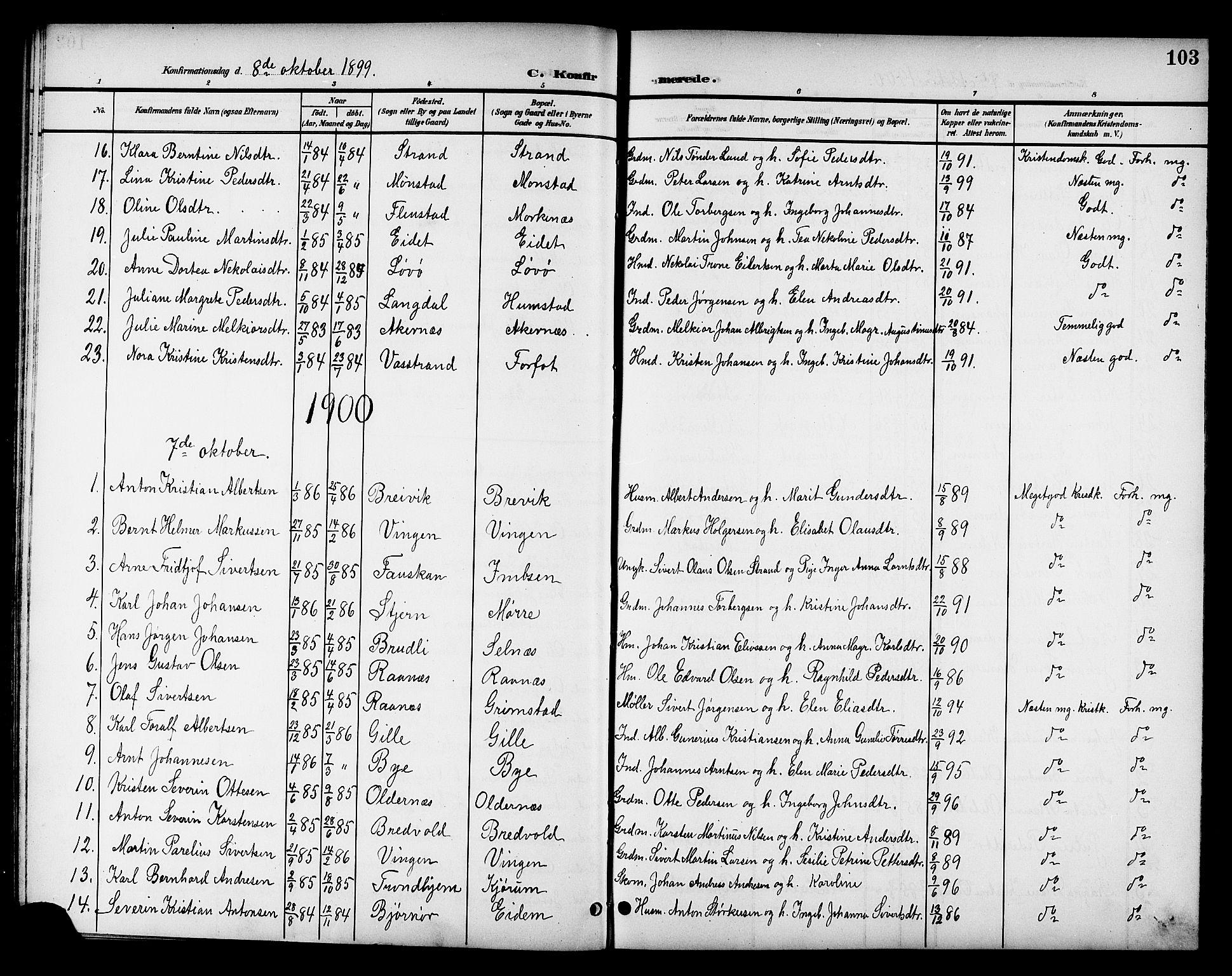 SAT, Ministerialprotokoller, klokkerbøker og fødselsregistre - Sør-Trøndelag, 655/L0688: Klokkerbok nr. 655C04, 1899-1922, s. 103