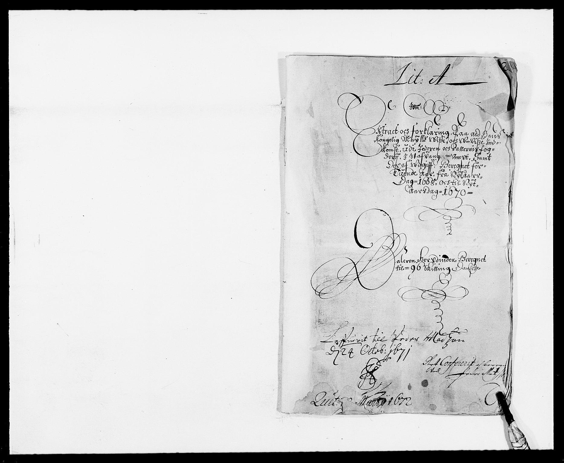 RA, Rentekammeret inntil 1814, Reviderte regnskaper, Fogderegnskap, R46/L2711: Fogderegnskap Jæren og Dalane, 1668-1670, s. 1