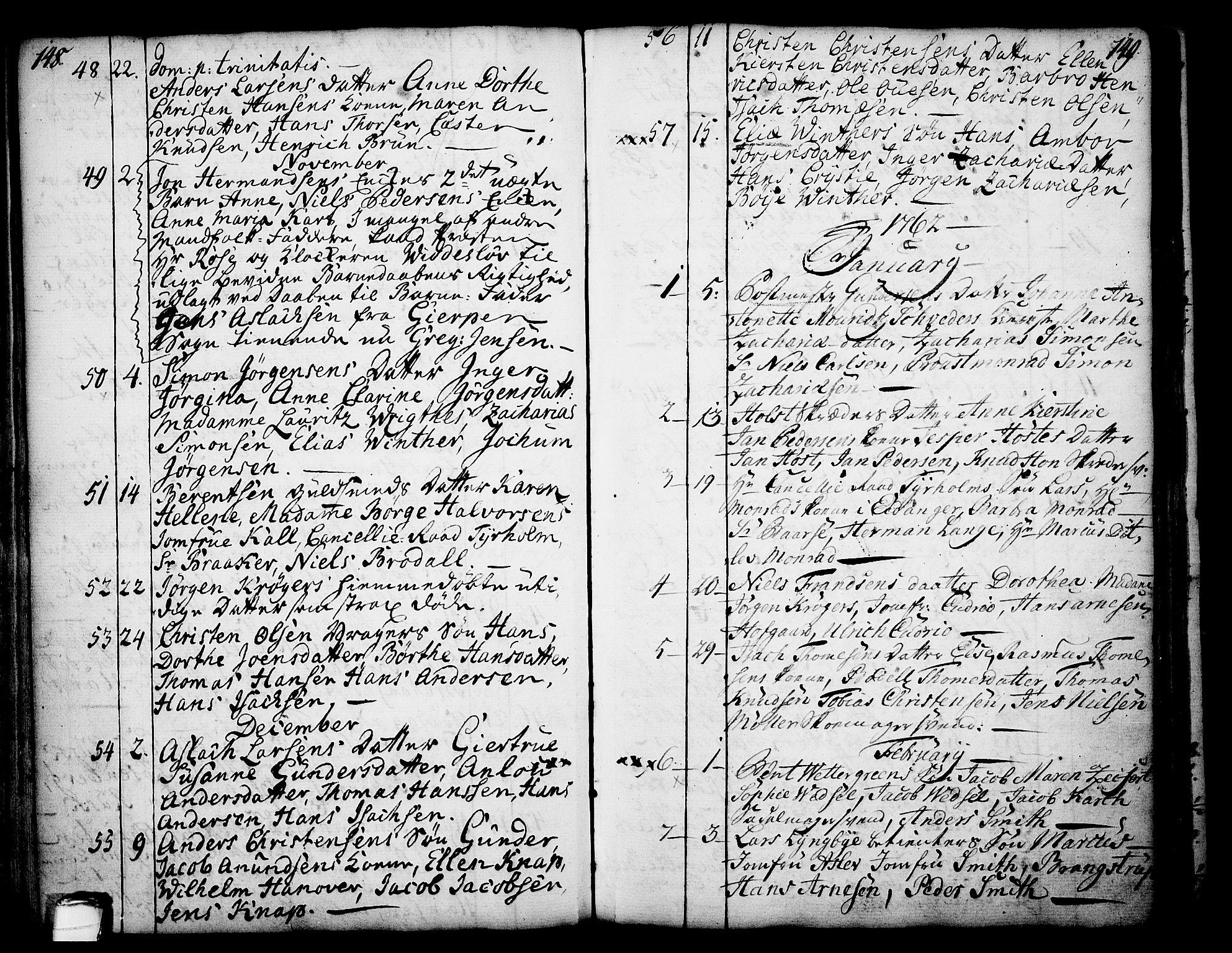 SAKO, Skien kirkebøker, F/Fa/L0003: Ministerialbok nr. 3, 1755-1791, s. 148-149