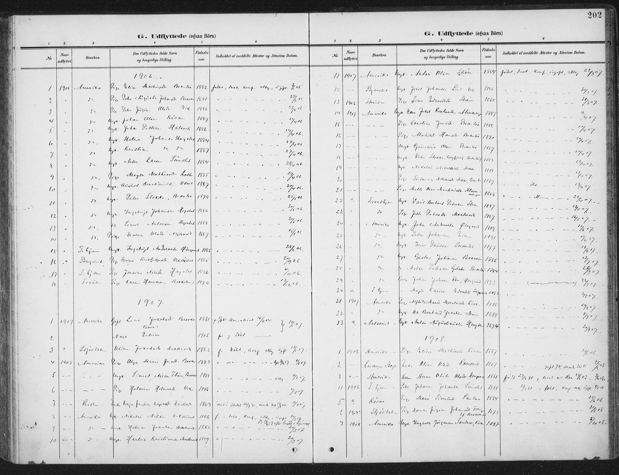 SAT, Ministerialprotokoller, klokkerbøker og fødselsregistre - Sør-Trøndelag, 657/L0709: Ministerialbok nr. 657A10, 1905-1919, s. 202
