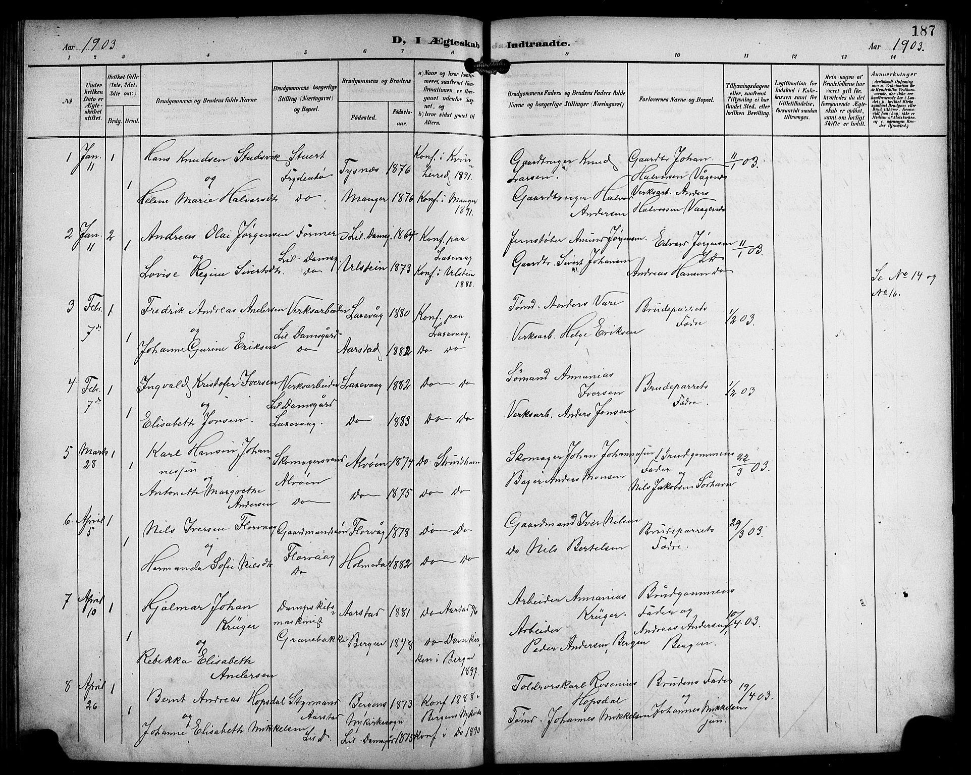 SAB, Laksevåg Sokneprestembete, H/Ha/Hab/Haba/L0004: Klokkerbok nr. A 4, 1899-1909, s. 187
