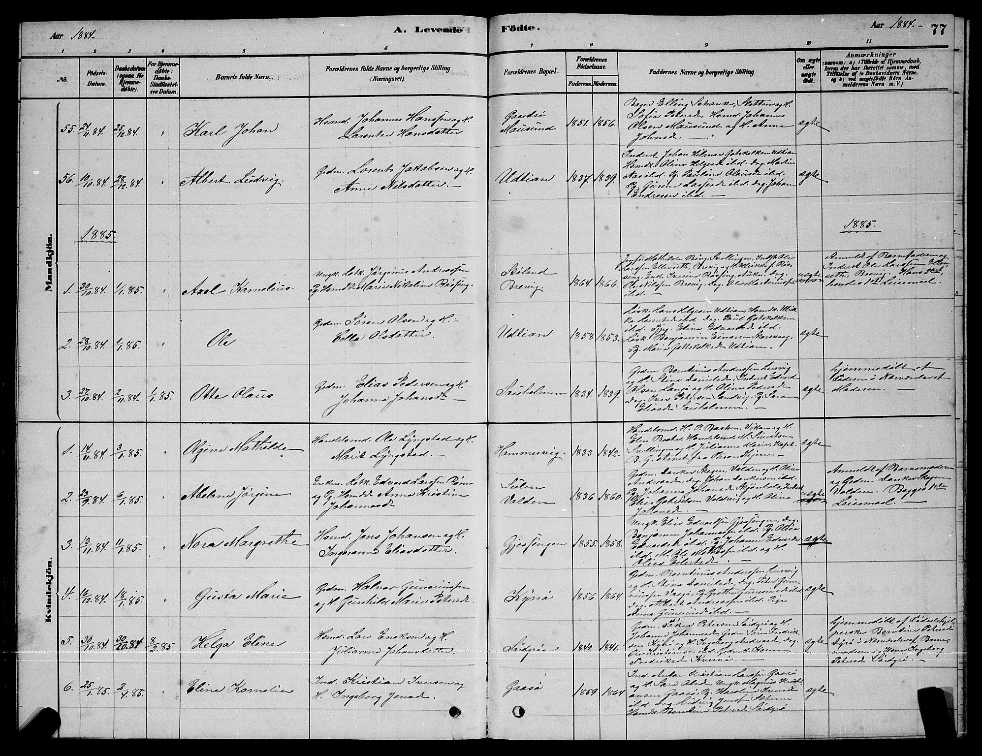 SAT, Ministerialprotokoller, klokkerbøker og fødselsregistre - Sør-Trøndelag, 640/L0585: Klokkerbok nr. 640C03, 1878-1891, s. 77