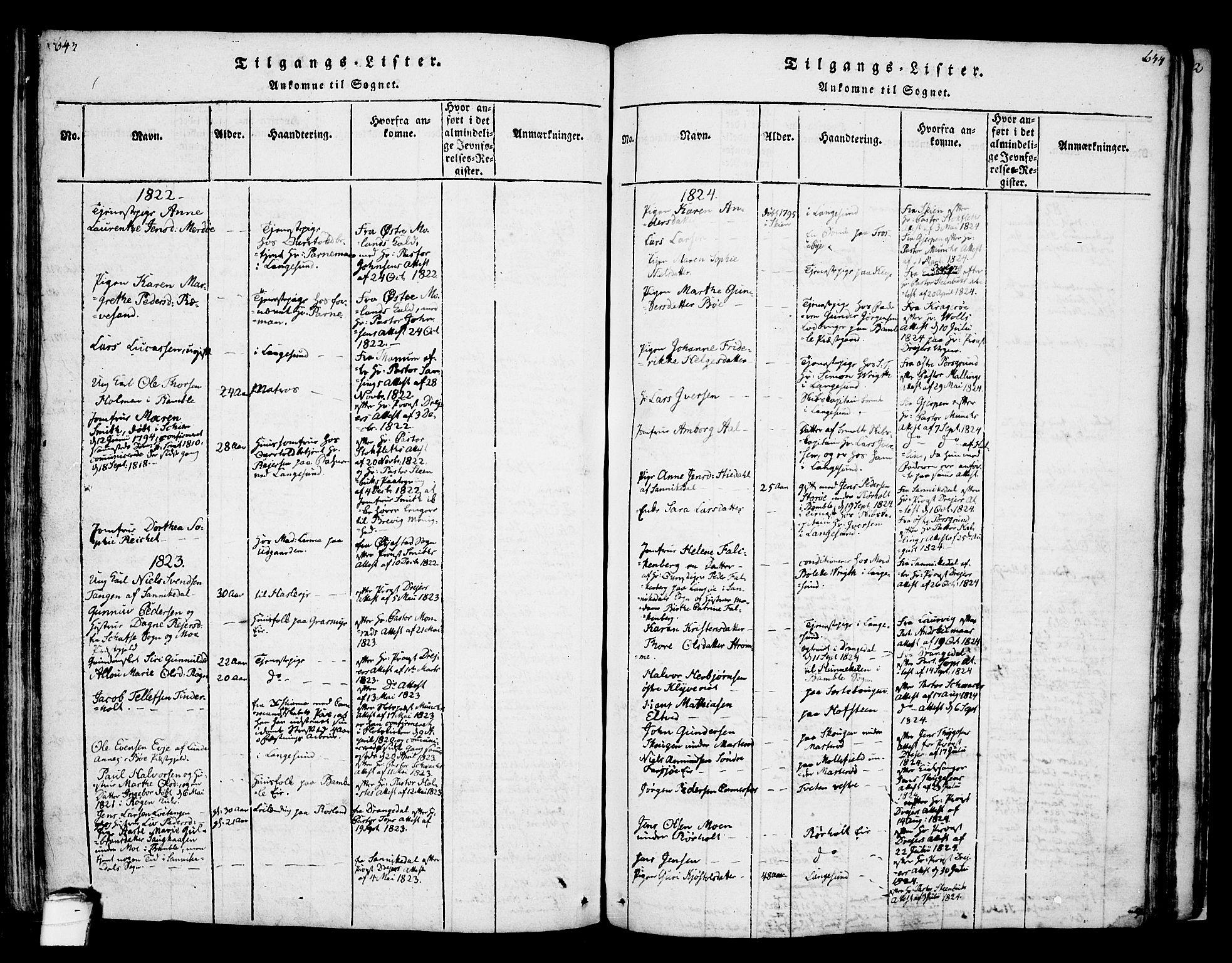 SAKO, Bamble kirkebøker, F/Fa/L0003: Ministerialbok nr. I 3 /1, 1814-1834, s. 643-644