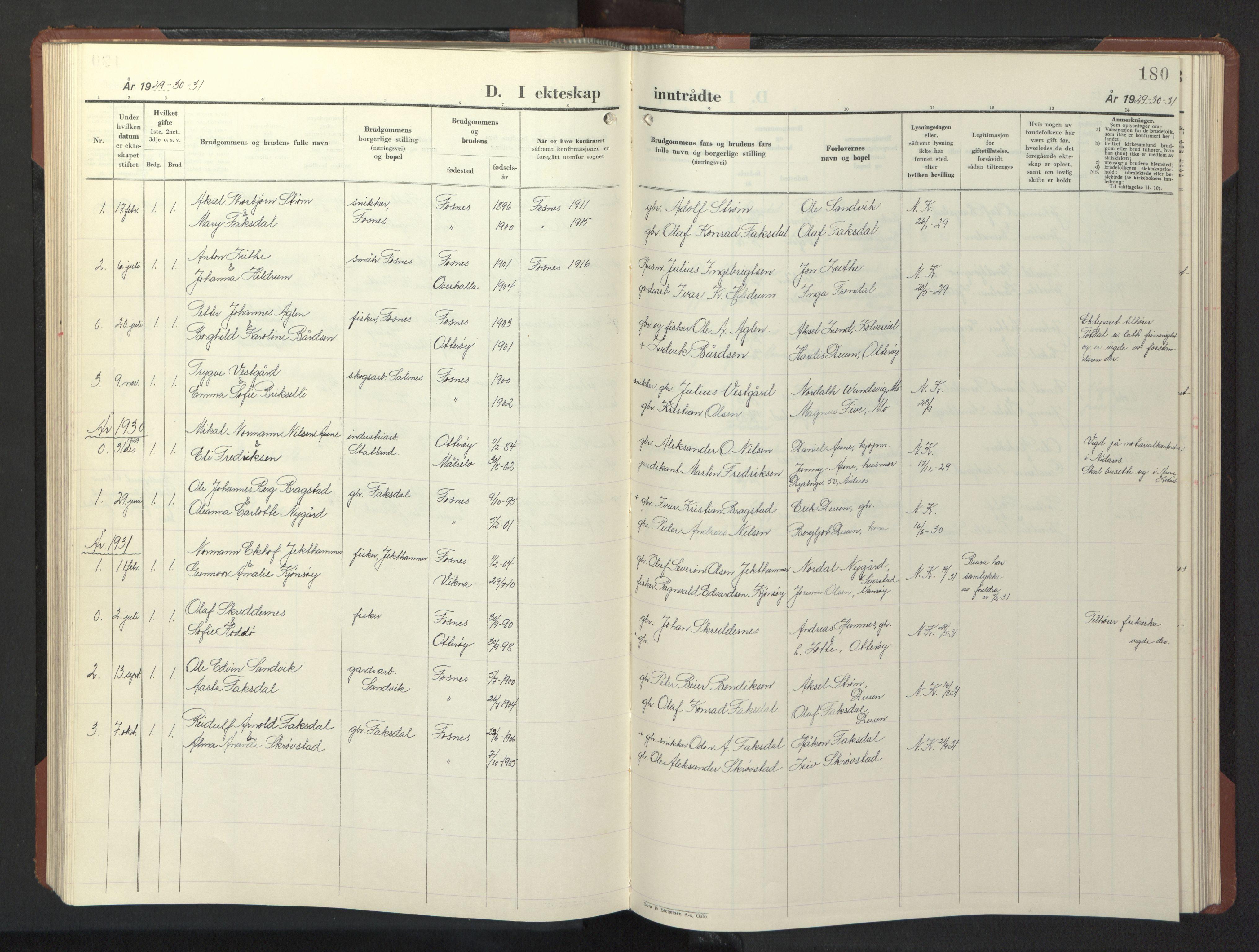 SAT, Ministerialprotokoller, klokkerbøker og fødselsregistre - Nord-Trøndelag, 773/L0625: Klokkerbok nr. 773C01, 1910-1952, s. 180
