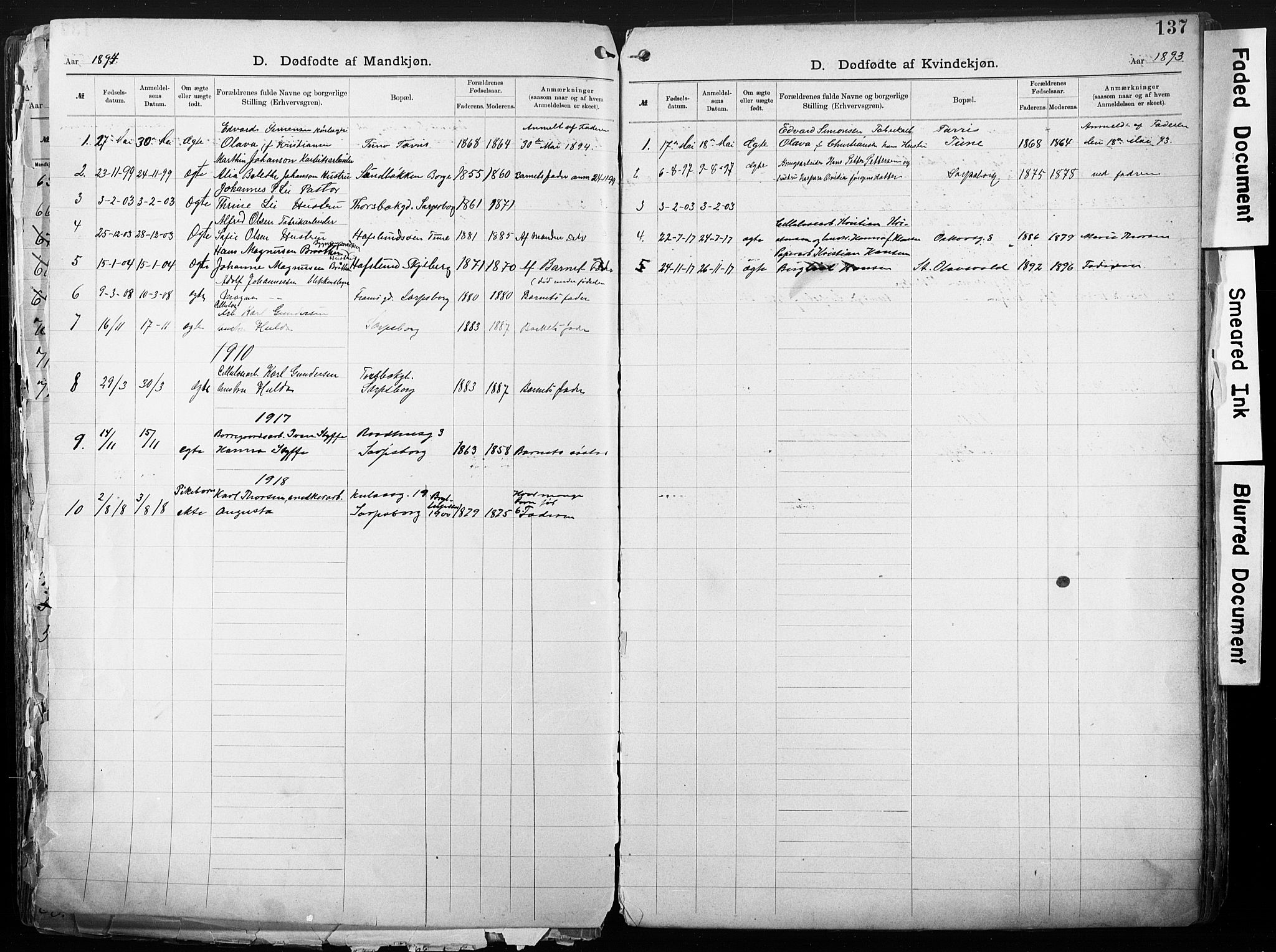SAO, Sarpsborg metodistkirke, A/L0004: Dissenterprotokoll nr. 4, 1892-1923, s. 137