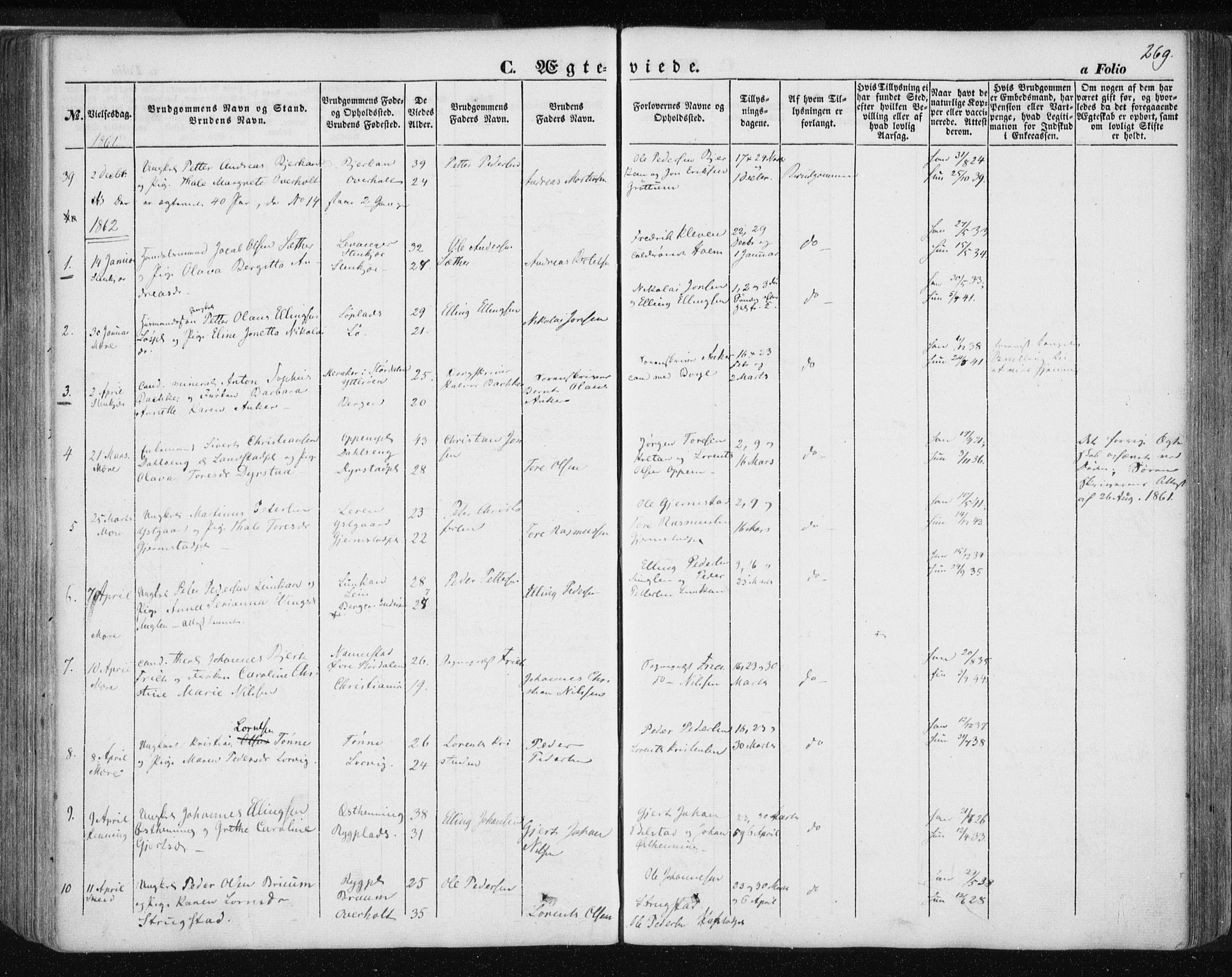 SAT, Ministerialprotokoller, klokkerbøker og fødselsregistre - Nord-Trøndelag, 735/L0342: Ministerialbok nr. 735A07 /1, 1849-1862, s. 269