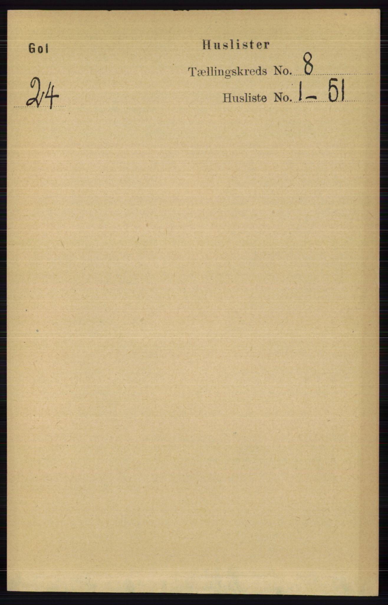 RA, Folketelling 1891 for 0617 Gol og Hemsedal herred, 1891, s. 2981