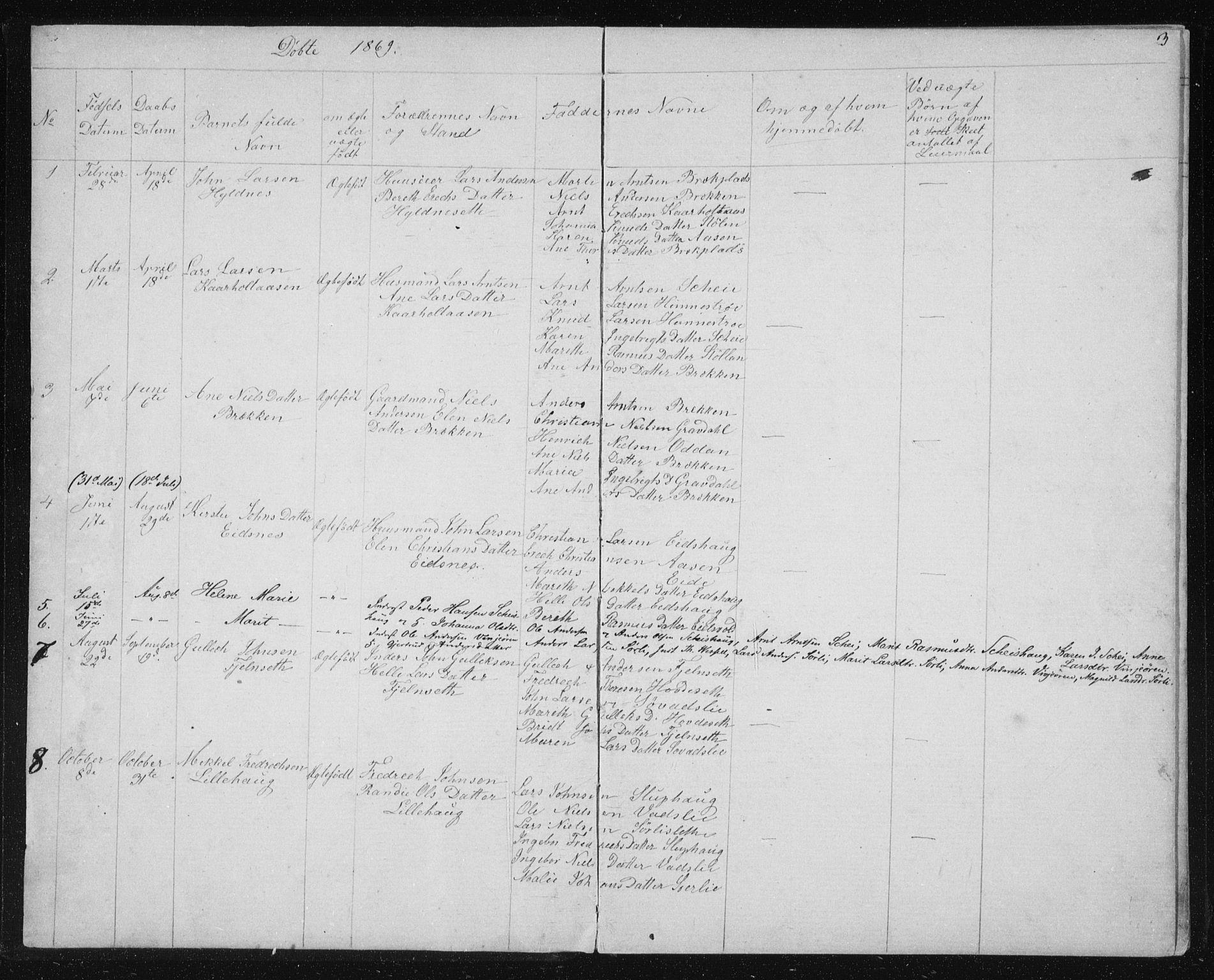 SAT, Ministerialprotokoller, klokkerbøker og fødselsregistre - Sør-Trøndelag, 631/L0513: Klokkerbok nr. 631C01, 1869-1879, s. 3