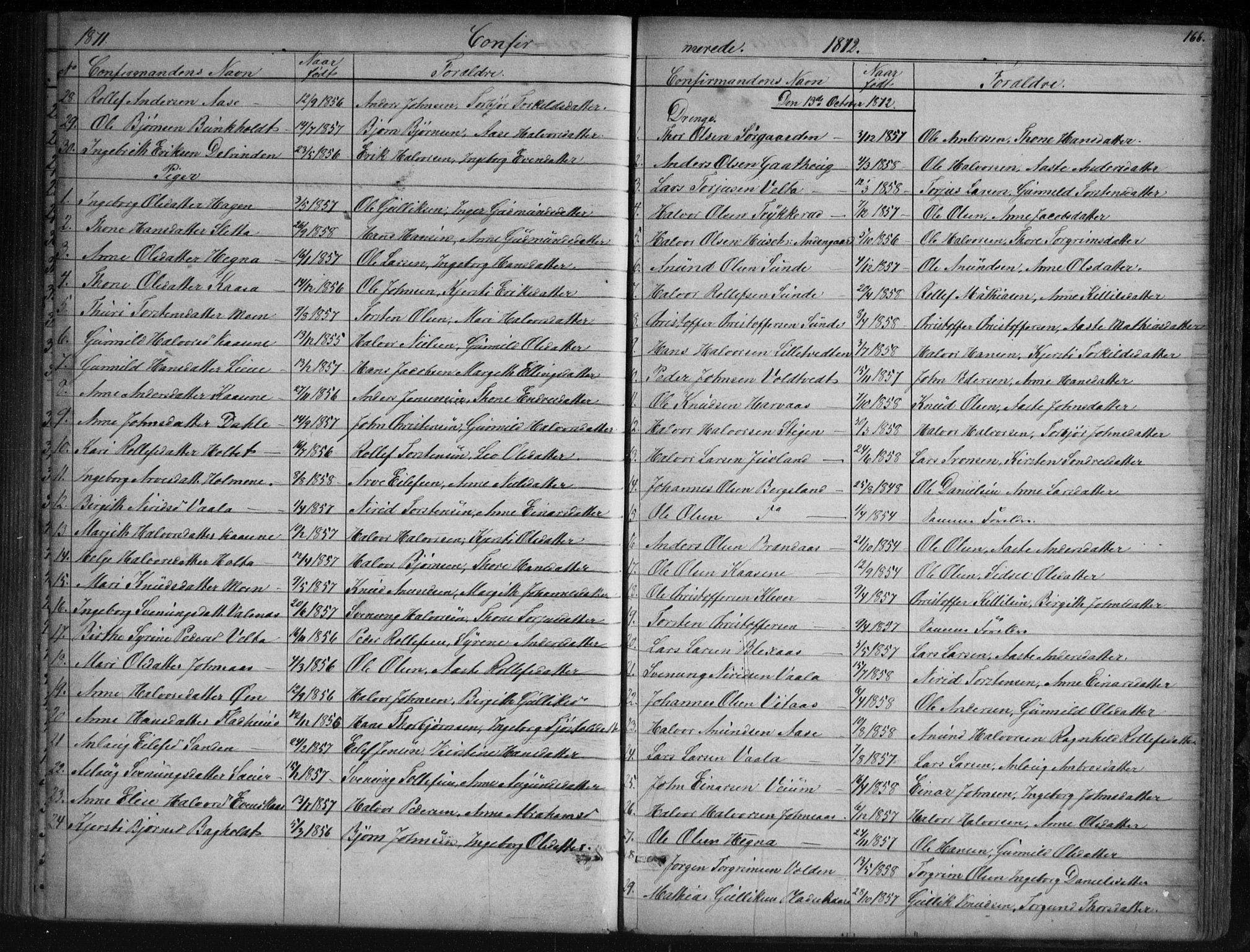 SAKO, Sauherad kirkebøker, G/Ga/L0003: Klokkerbok nr. I 3, 1866-1905, s. 166