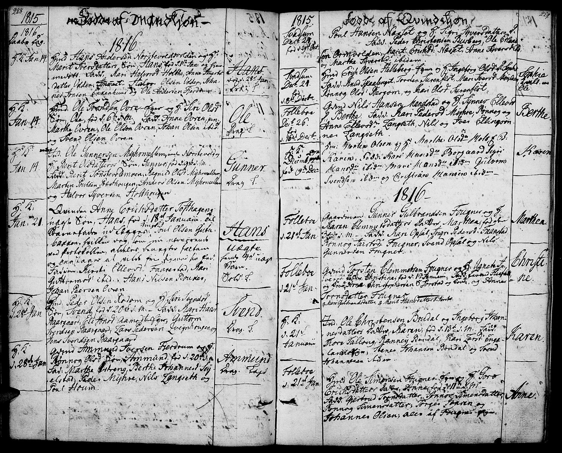 SAH, Gausdal prestekontor, Ministerialbok nr. 4, 1809-1817, s. 228-229