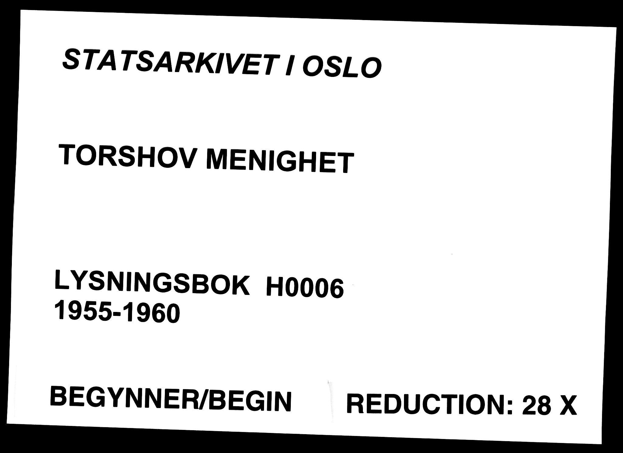 SAO, Torshov prestekontor Kirkebøker, H/Ha/L0006: Lysningsprotokoll nr. 6, 1955-1960