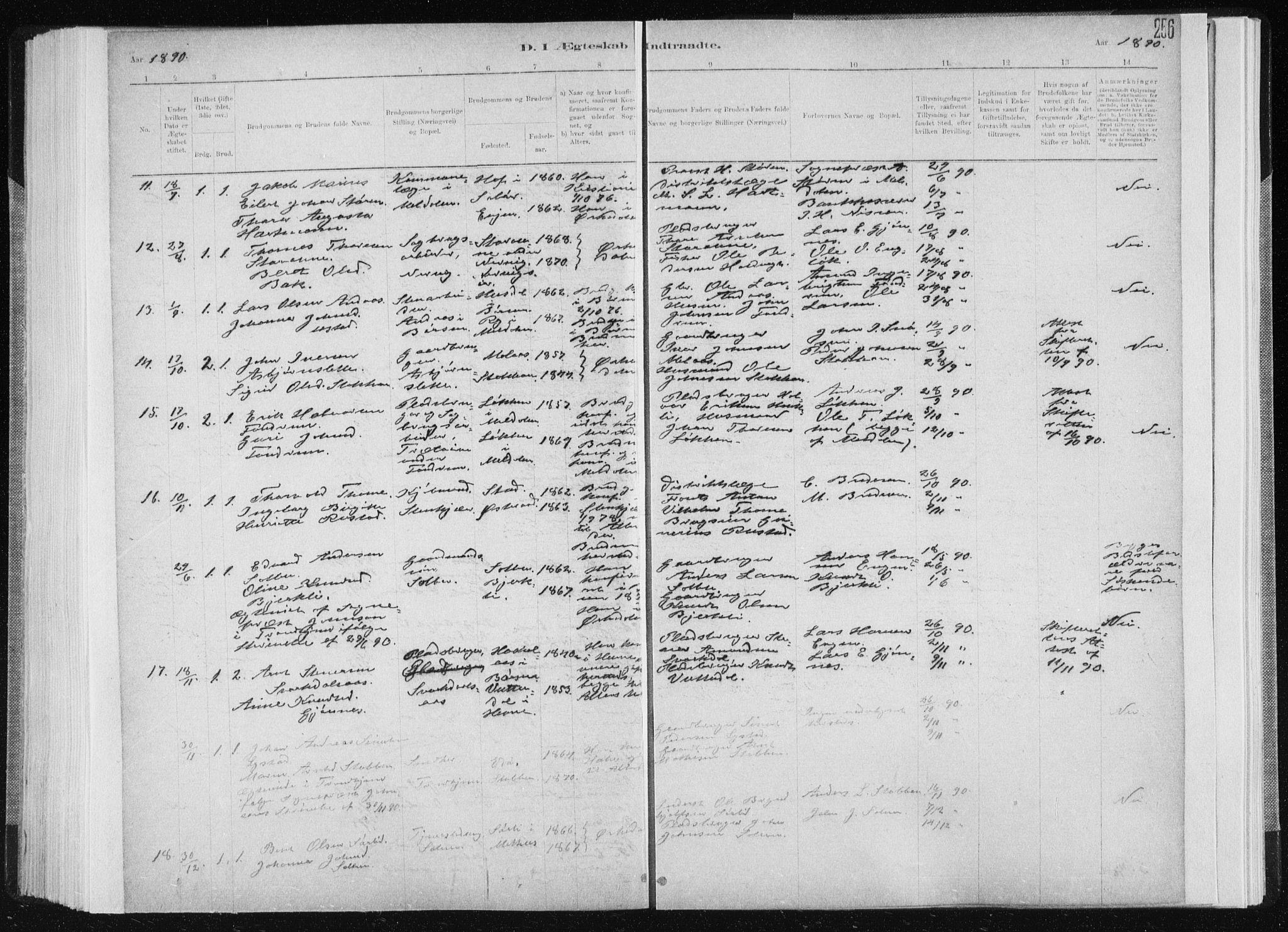 SAT, Ministerialprotokoller, klokkerbøker og fødselsregistre - Sør-Trøndelag, 668/L0818: Klokkerbok nr. 668C07, 1885-1898, s. 256