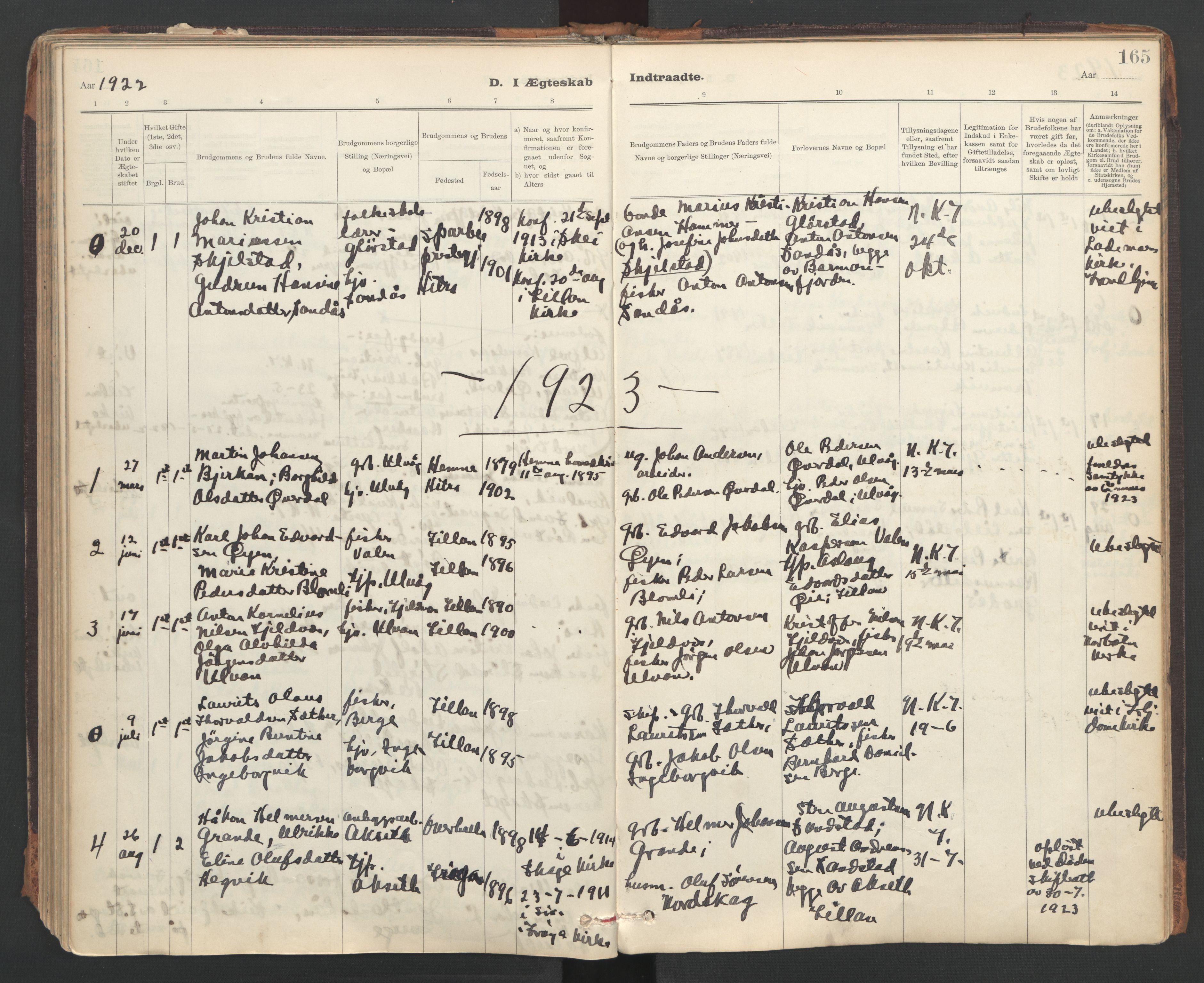 SAT, Ministerialprotokoller, klokkerbøker og fødselsregistre - Sør-Trøndelag, 637/L0559: Ministerialbok nr. 637A02, 1899-1923, s. 165