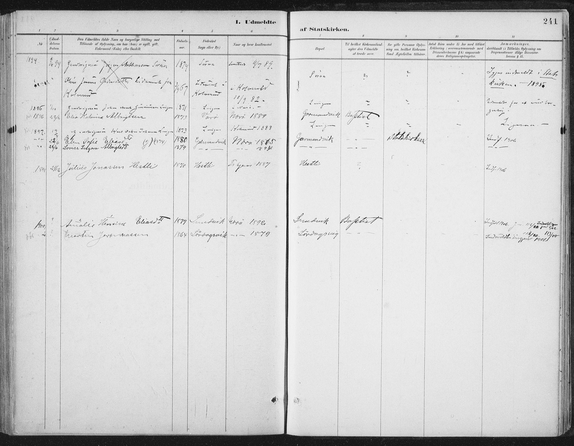 SAT, Ministerialprotokoller, klokkerbøker og fødselsregistre - Nord-Trøndelag, 784/L0673: Ministerialbok nr. 784A08, 1888-1899, s. 241