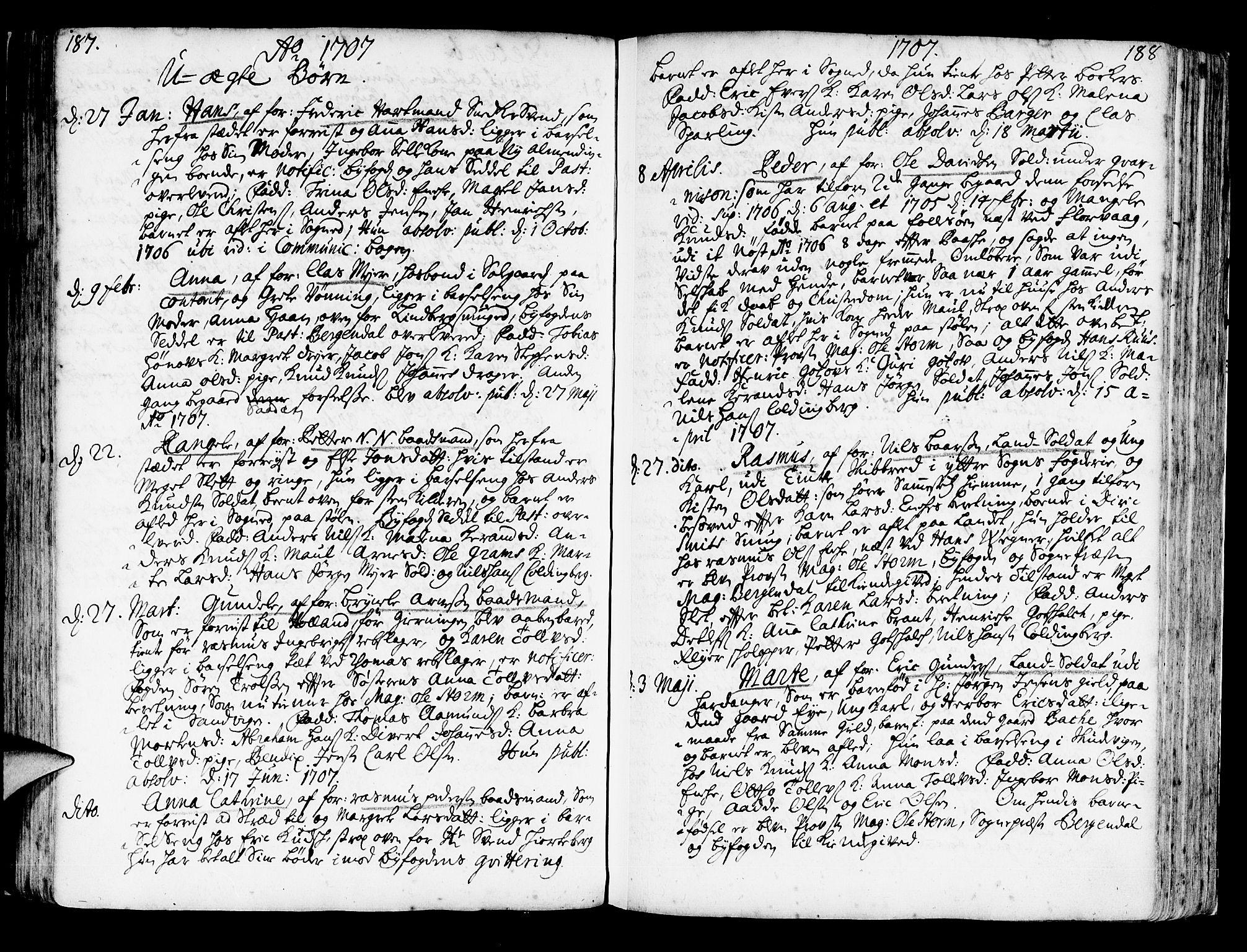 SAB, Korskirken Sokneprestembete, H/Haa/L0003: Ministerialbok nr. A 3, 1698-1719, s. 187-188