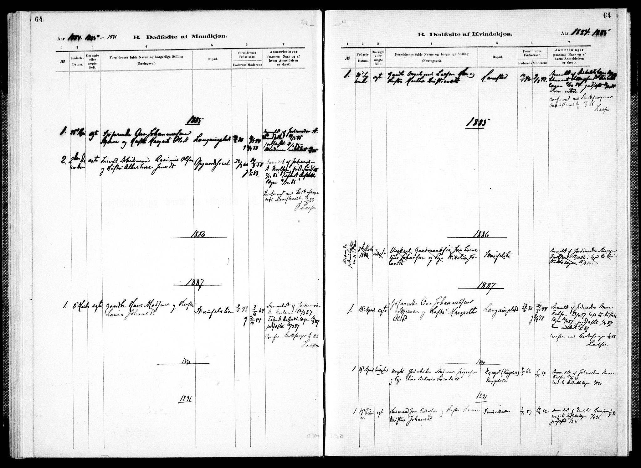 SAT, Ministerialprotokoller, klokkerbøker og fødselsregistre - Nord-Trøndelag, 733/L0325: Ministerialbok nr. 733A04, 1884-1908, s. 64