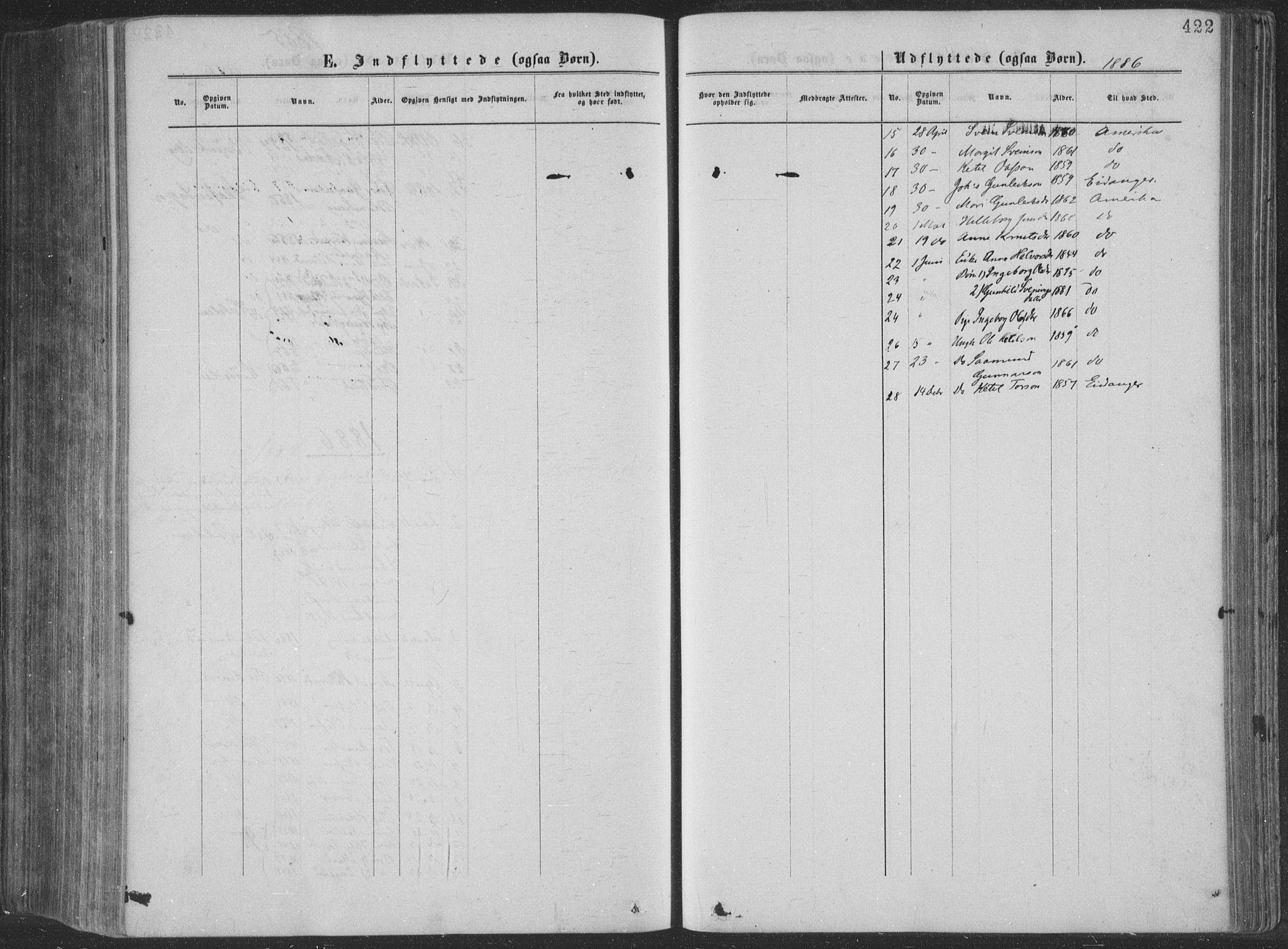 SAKO, Seljord kirkebøker, F/Fa/L0014: Ministerialbok nr. I 14, 1877-1886, s. 422