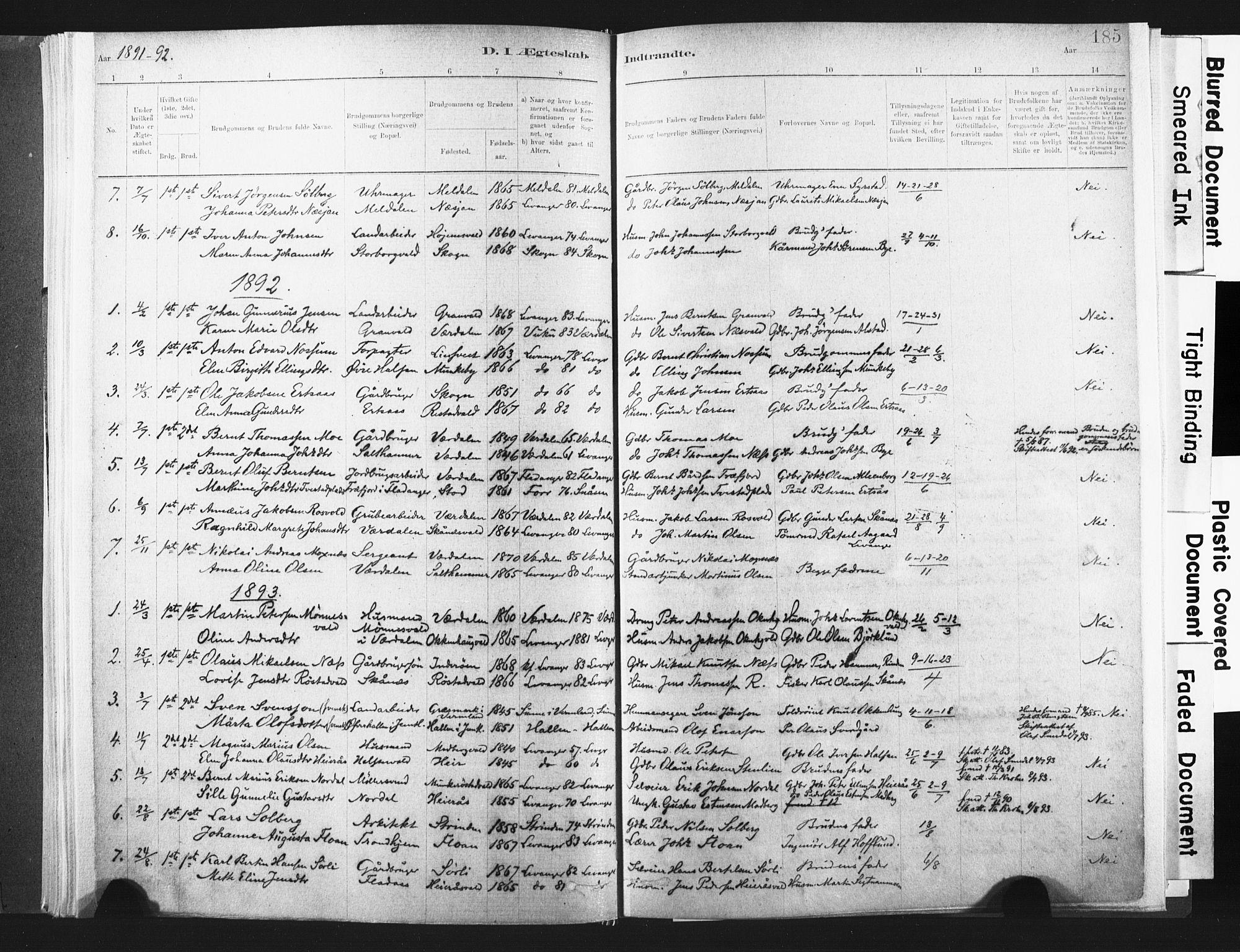 SAT, Ministerialprotokoller, klokkerbøker og fødselsregistre - Nord-Trøndelag, 721/L0207: Ministerialbok nr. 721A02, 1880-1911, s. 185