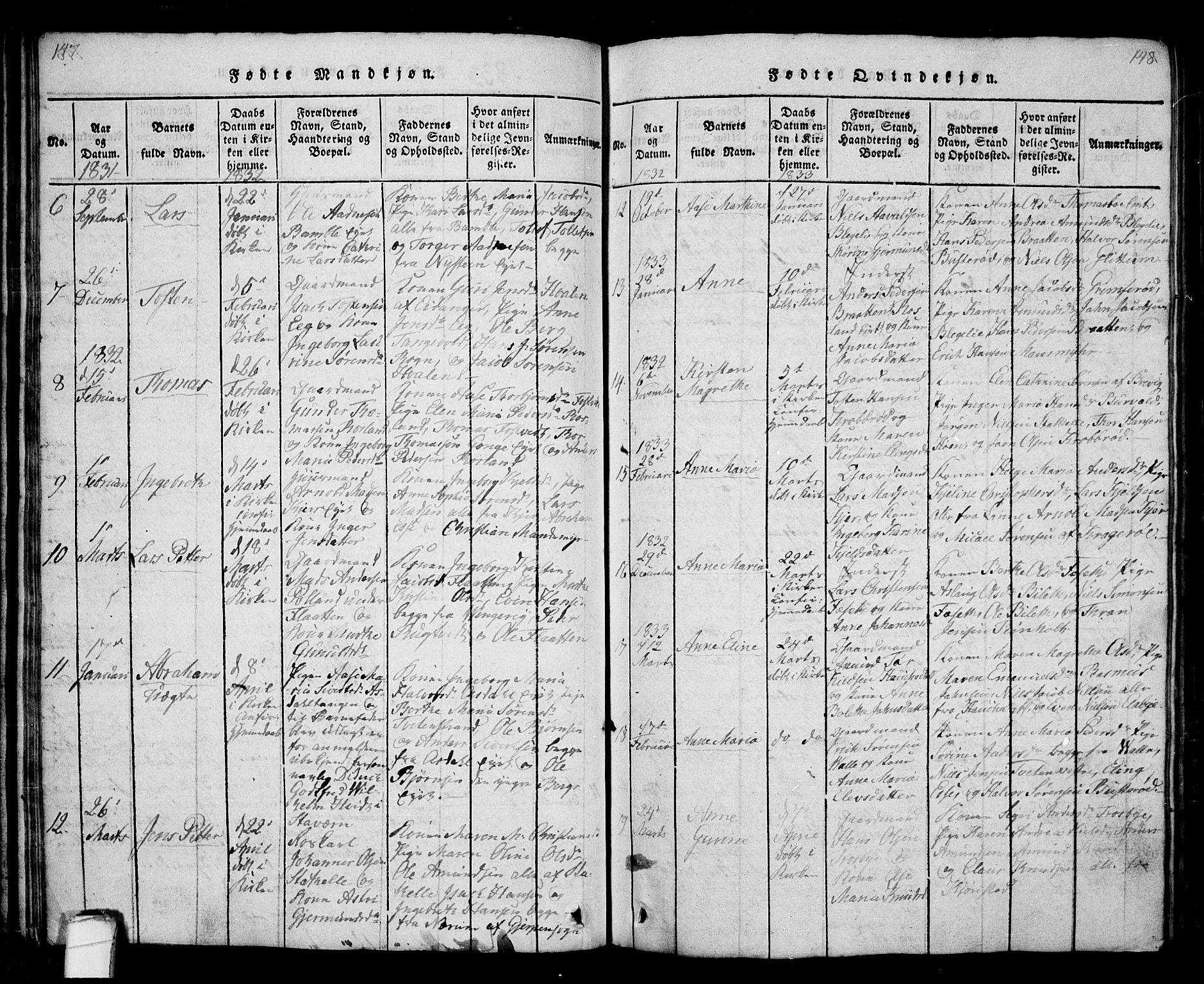 SAKO, Bamble kirkebøker, G/Ga/L0005: Klokkerbok nr. I 5, 1814-1855, s. 147-148