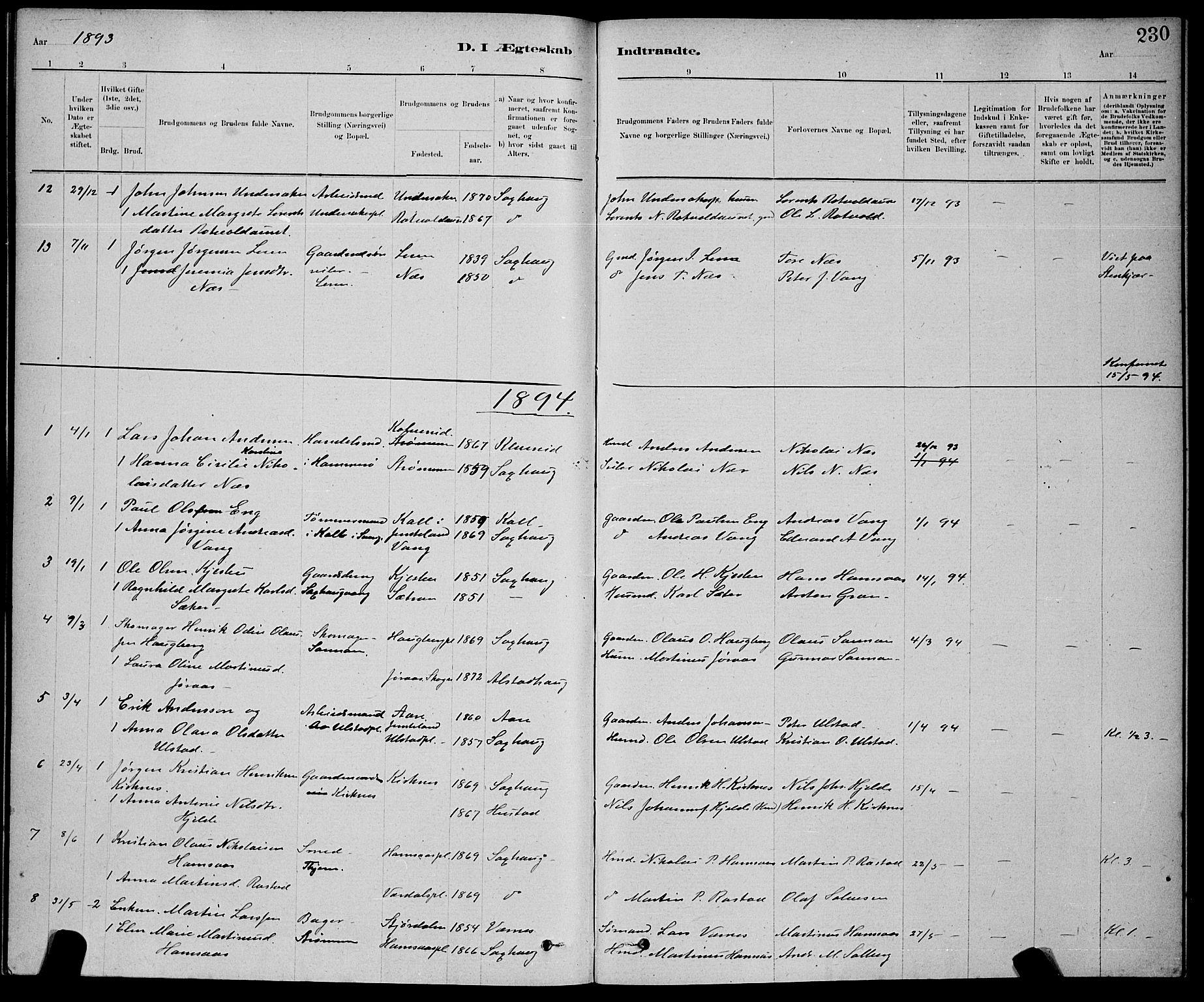 SAT, Ministerialprotokoller, klokkerbøker og fødselsregistre - Nord-Trøndelag, 730/L0301: Klokkerbok nr. 730C04, 1880-1897, s. 230