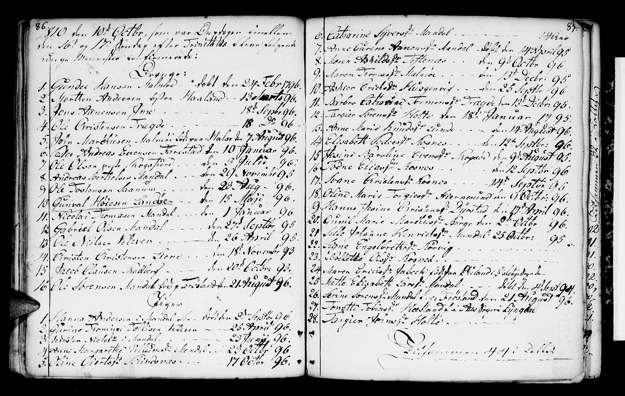 SAK, Mandal sokneprestkontor, F/Fa/Faa/L0004: Ministerialbok nr. A 4, 1745-1817, s. 86-87