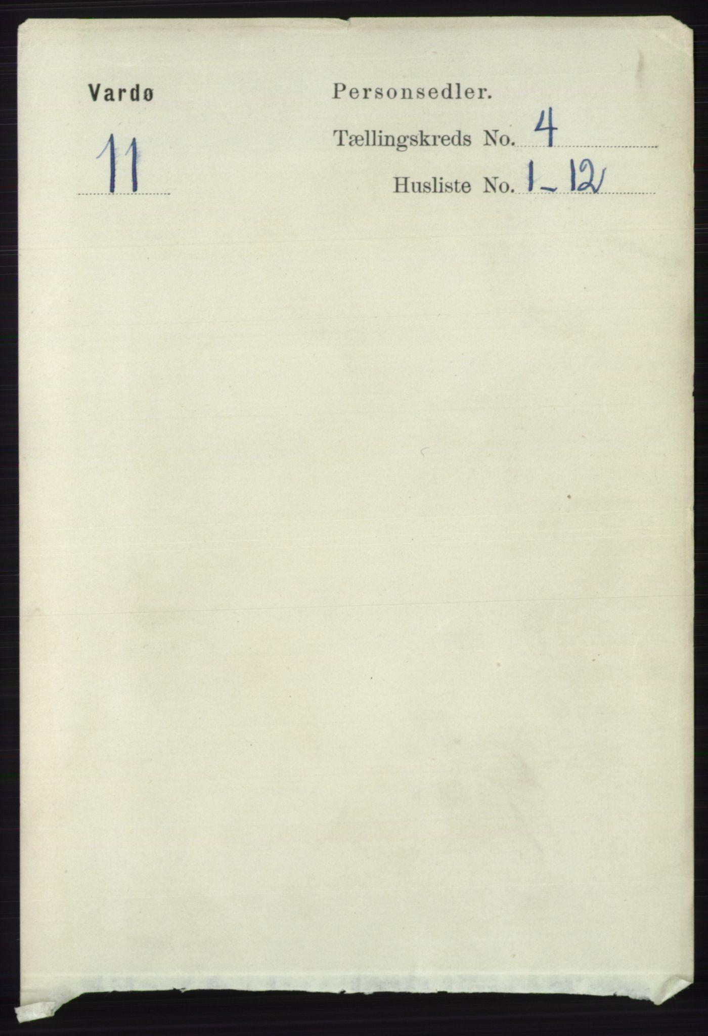 RA, Folketelling 1891 for 2002 Vardø kjøpstad, 1891, s. 1911
